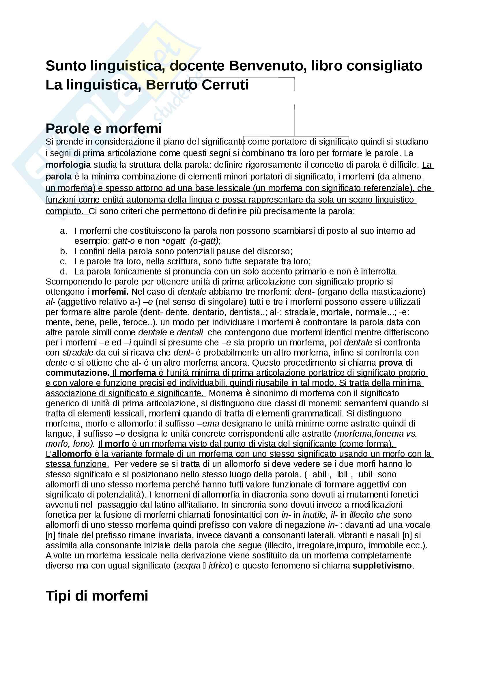 Riassunto esame linguistica, docente Benvenuto, libro consigliato La linguistica, Berruto Cerruti