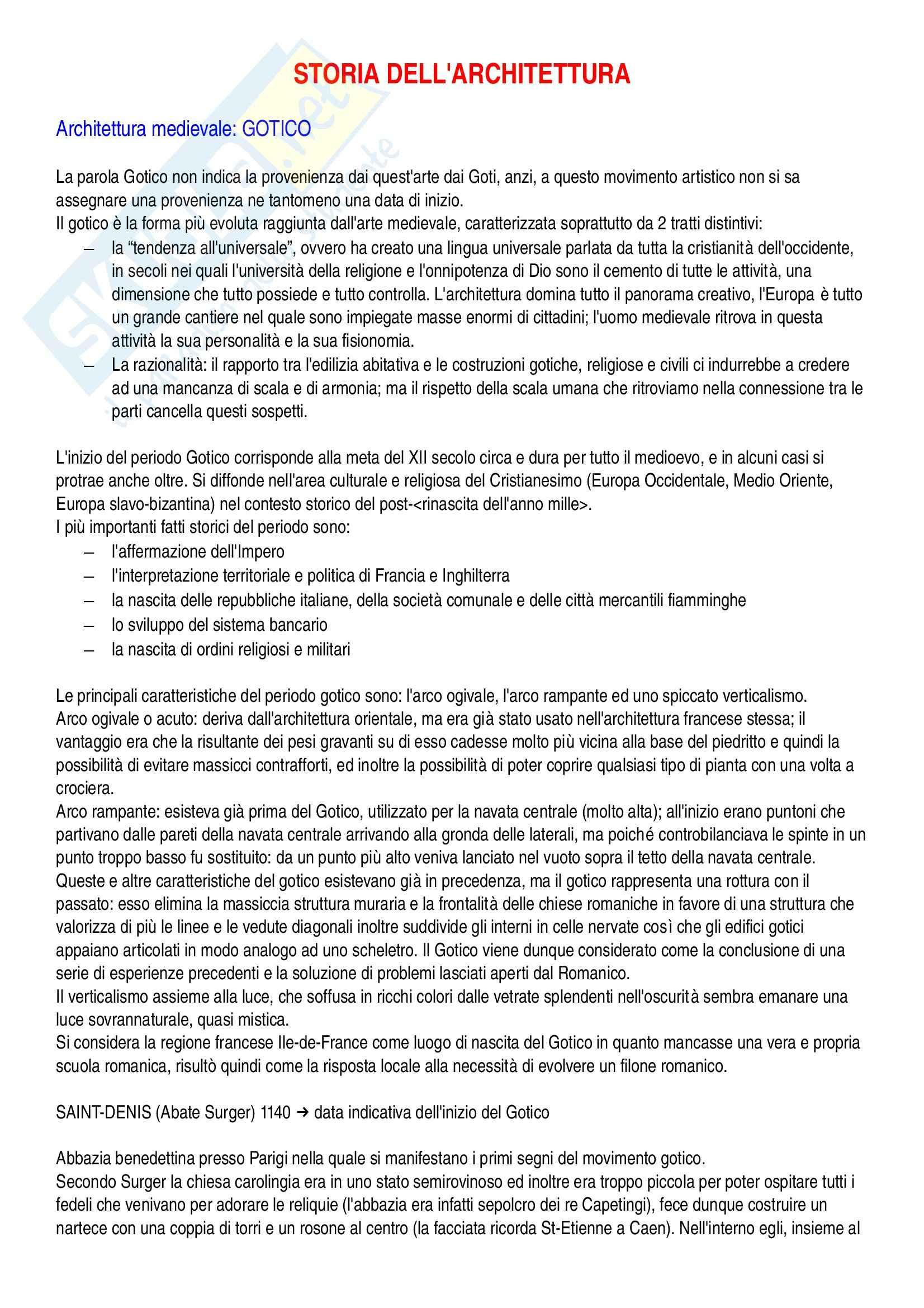 Riassunto esame Storia dell'architettura I - dal Gotico al Barocco (compreso), prof. Loi