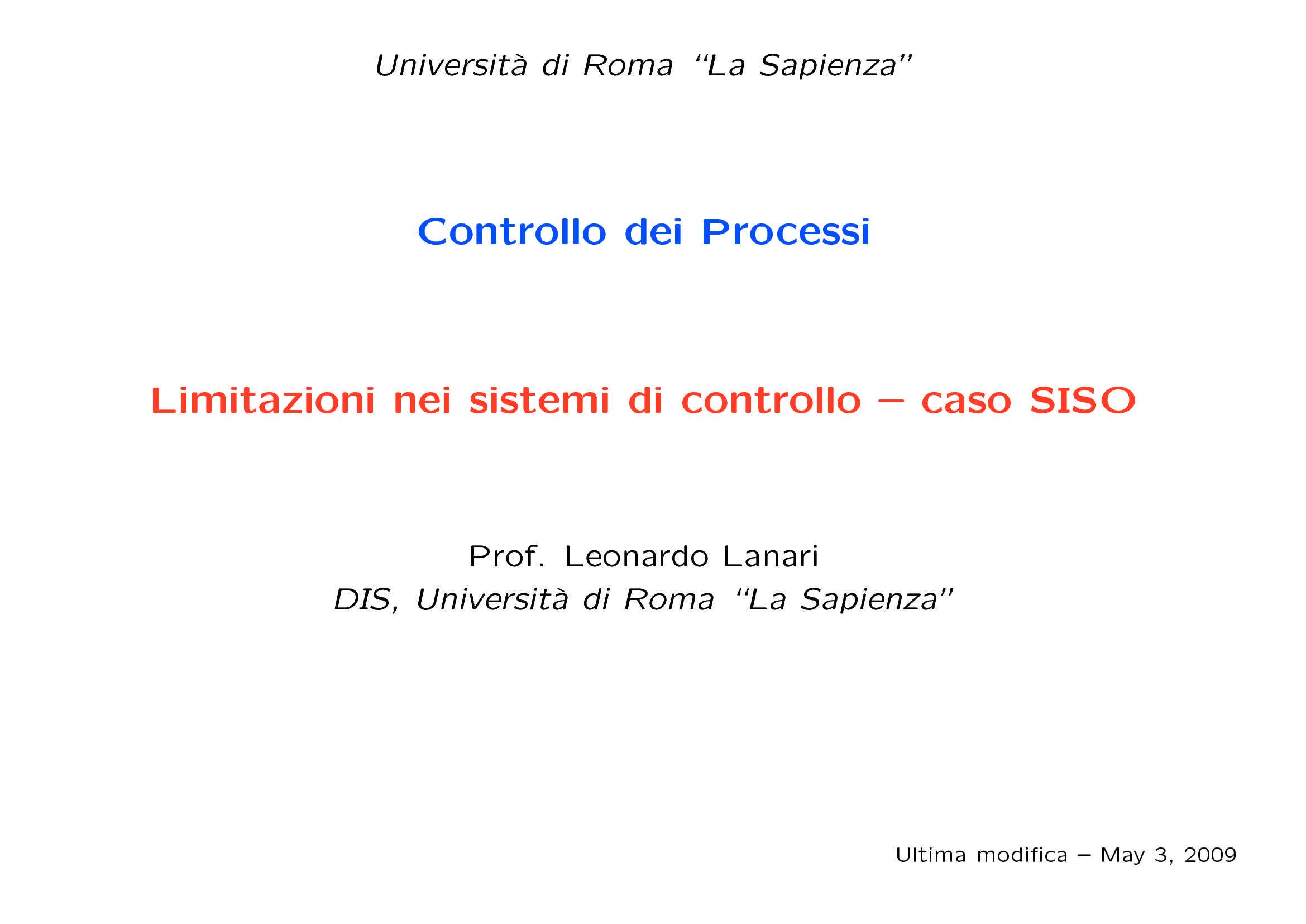 Controllo di sistemi SISO - Limitazioni