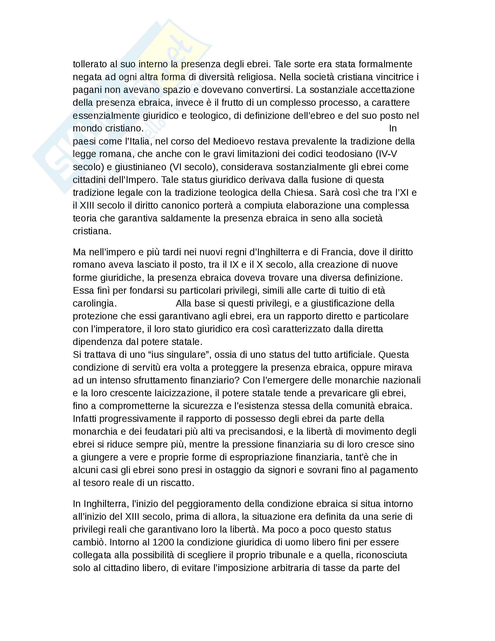 Riassunto esame Storia Moderna, prof. Roscioni, libro consigliato Ebrei in Europa, Anna Foa Pag. 2