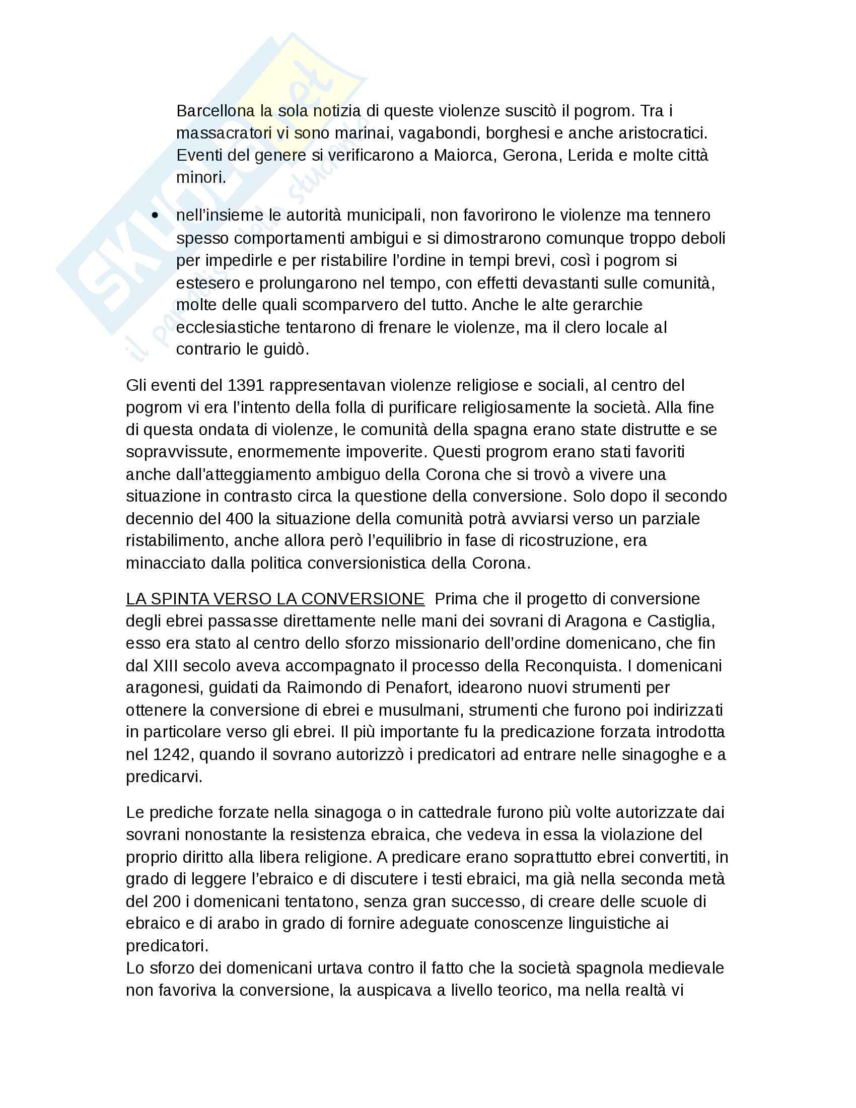 Riassunto esame Storia Moderna, prof. Roscioni, libro consigliato Ebrei in Europa, Anna Foa Pag. 31