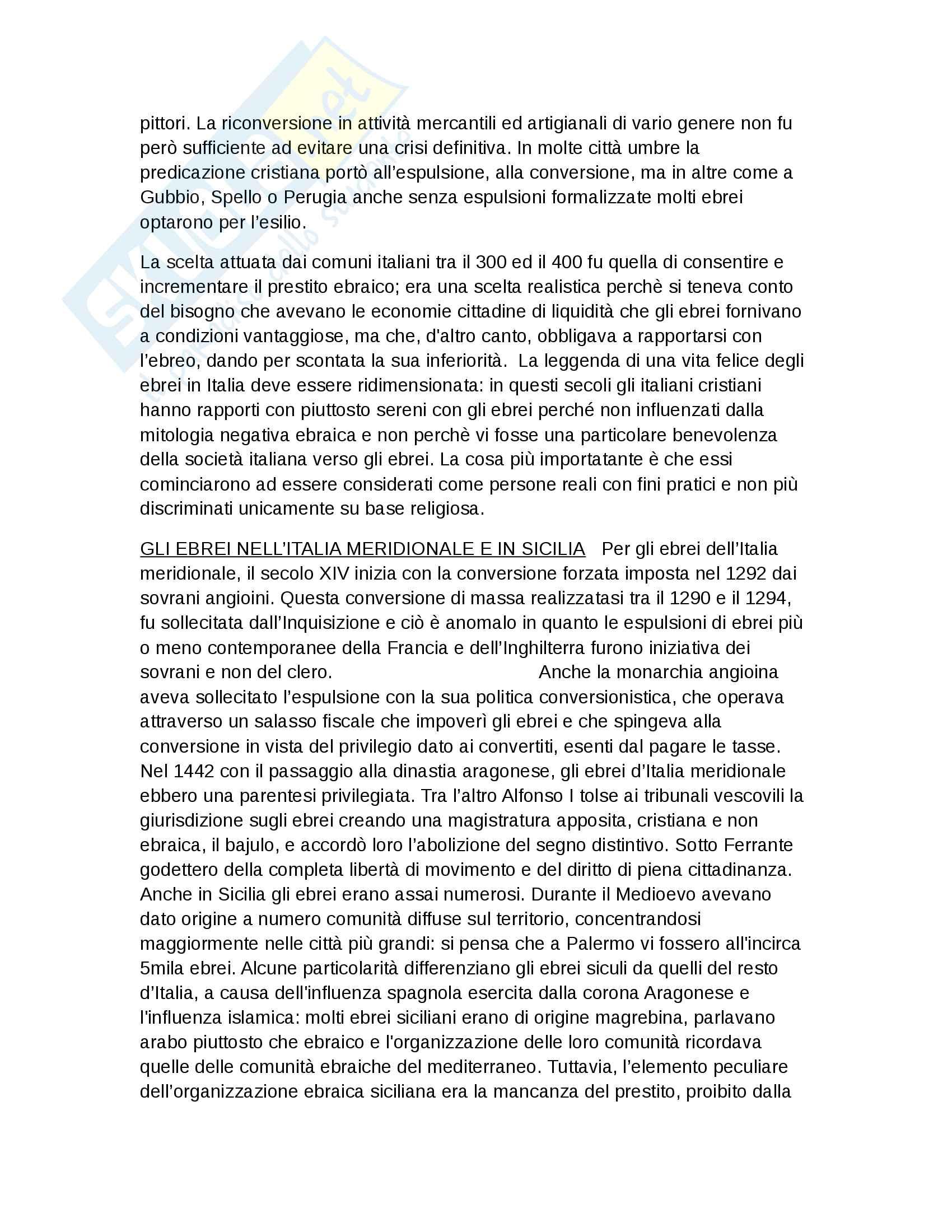 Riassunto esame Storia Moderna, prof. Roscioni, libro consigliato Ebrei in Europa, Anna Foa Pag. 46