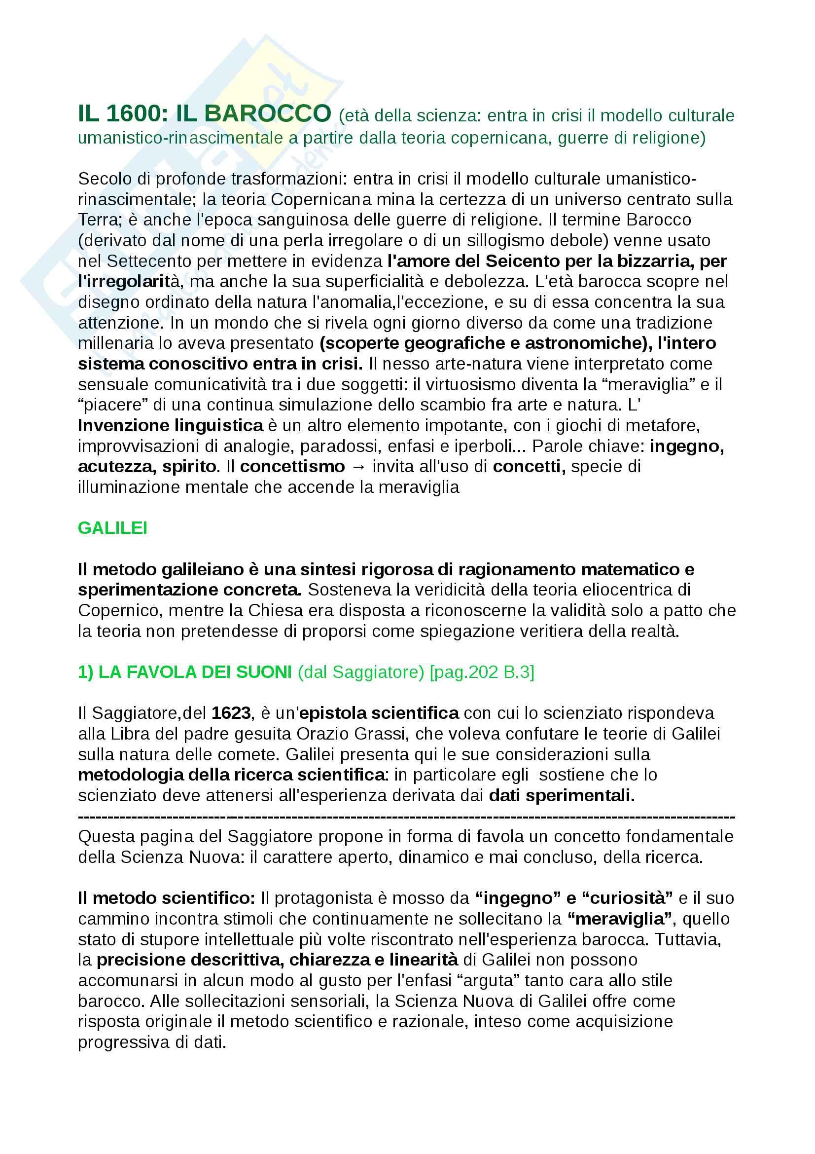 Riassunti Letteratura Italiana dal 1600 al 1700, libro consigliato 3° Baldi , con analisi dei testi, introduzione agli autori e opere, contesti storici, prof. Oliva