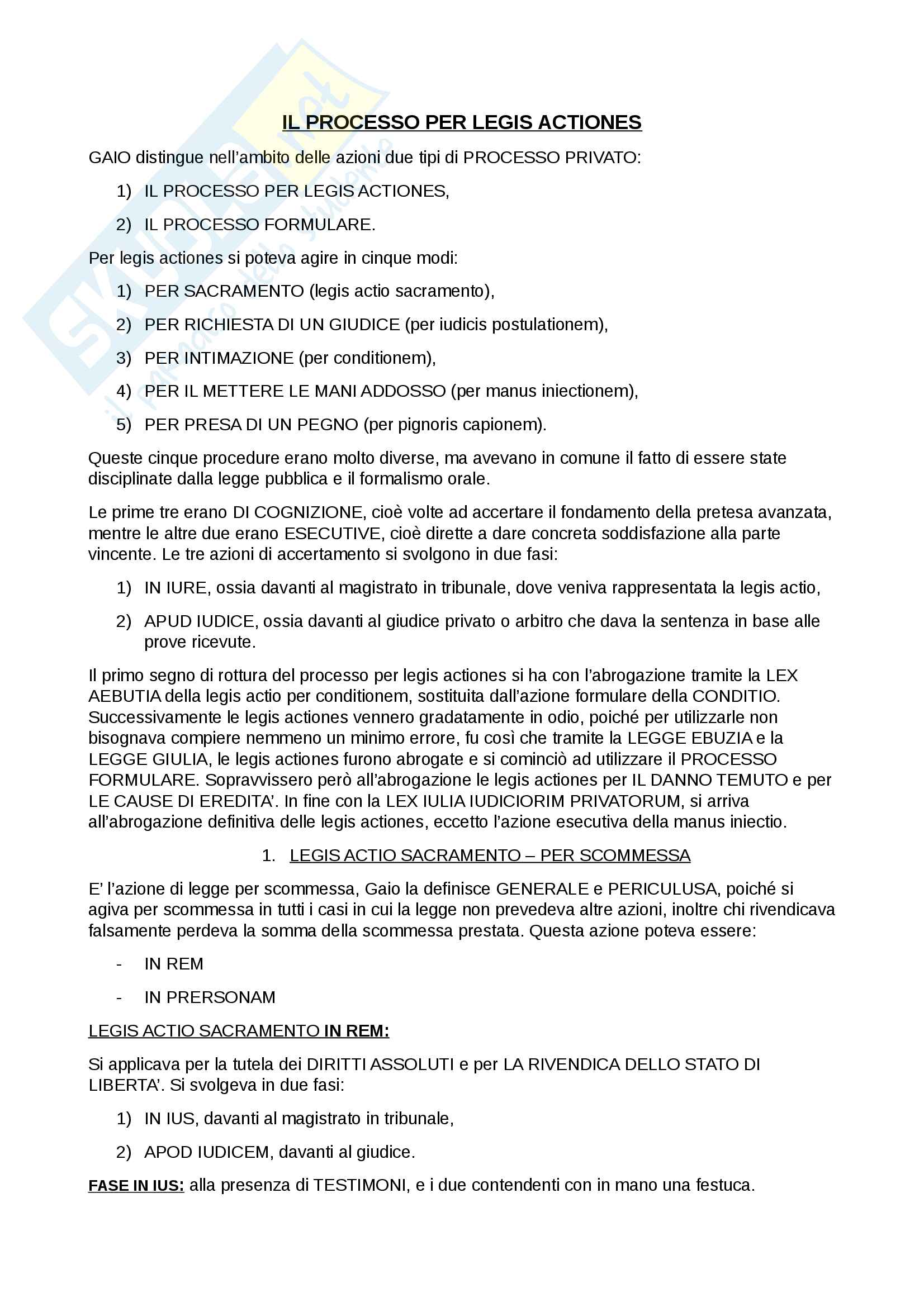 Appunti di istituzioni di diritto romano: processo per legis actiones e processo formulare (parte orale)