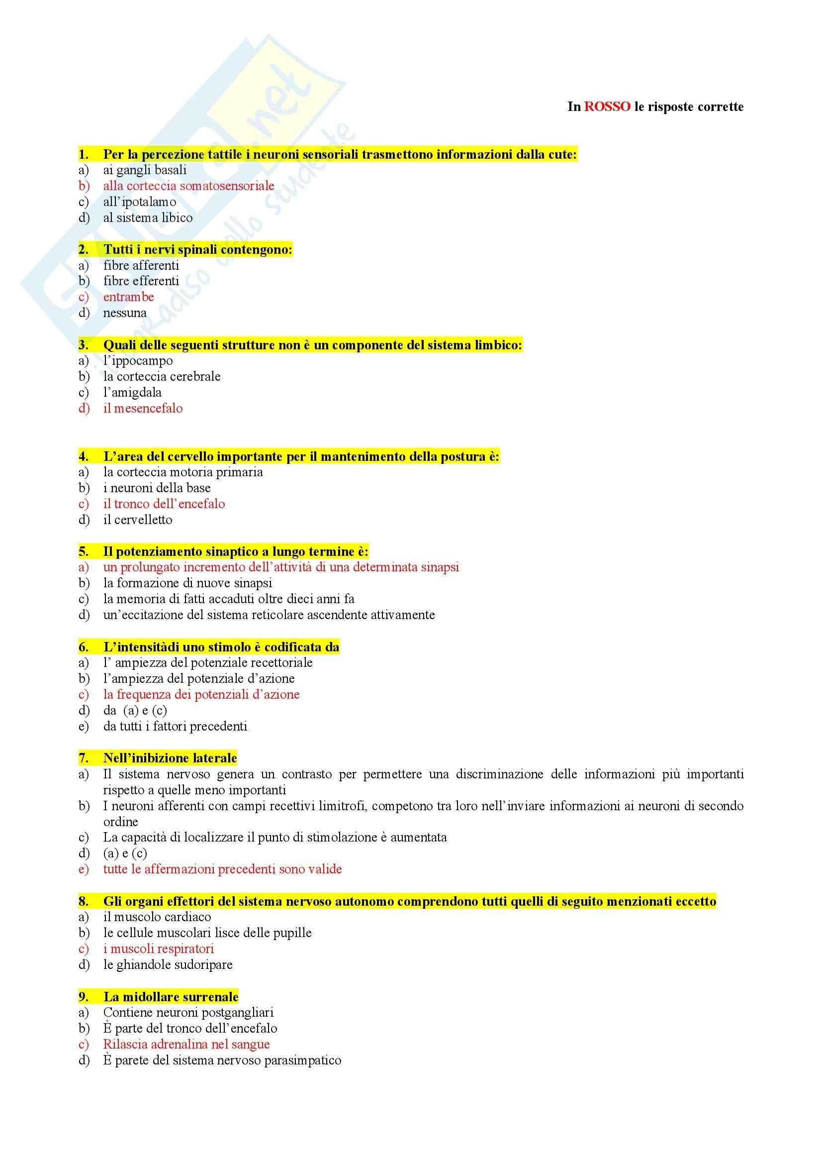 Fisiologia umana I - Test 2