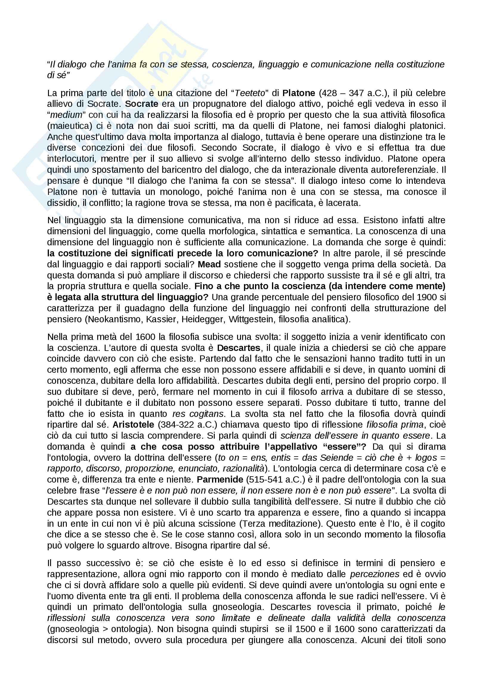 Panoramica Gnoseologia, Gnoseologia, Socrate - Platone - Aristotele - Descartes - Leibniz - Heidegger