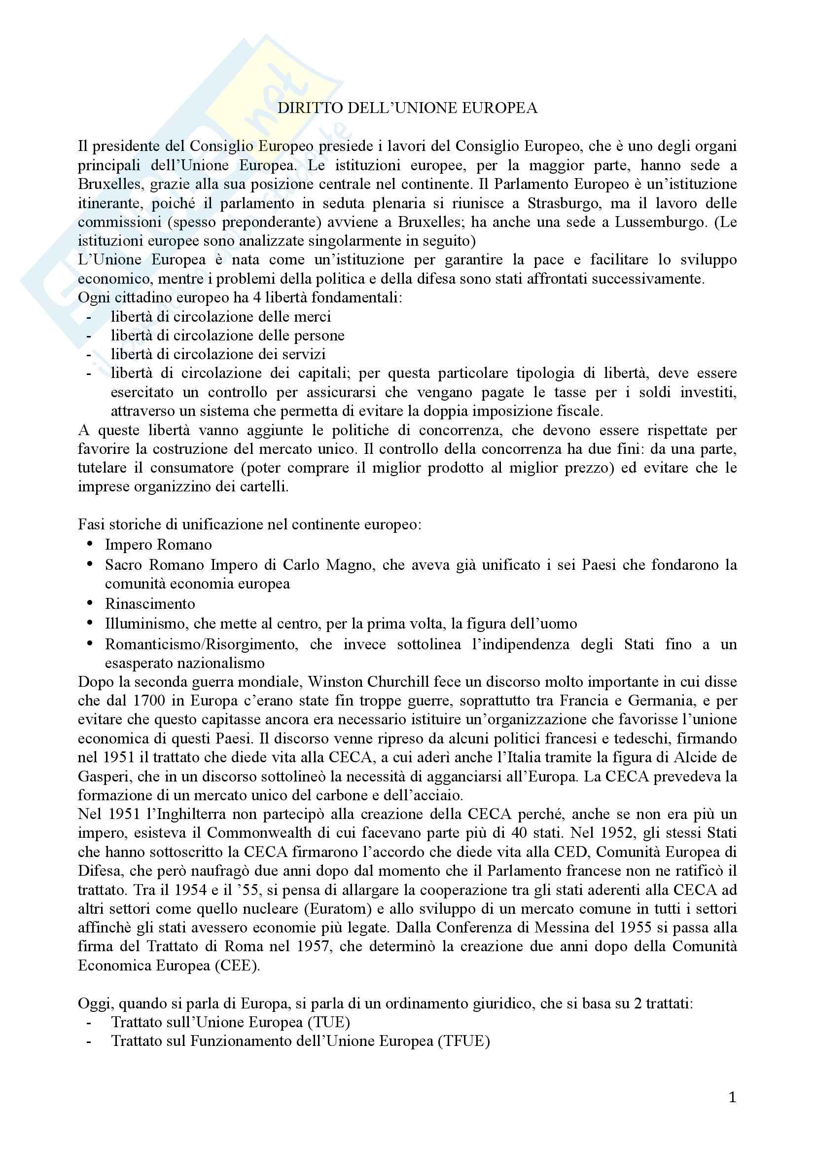 Appunti Diritto dell Unione Europea