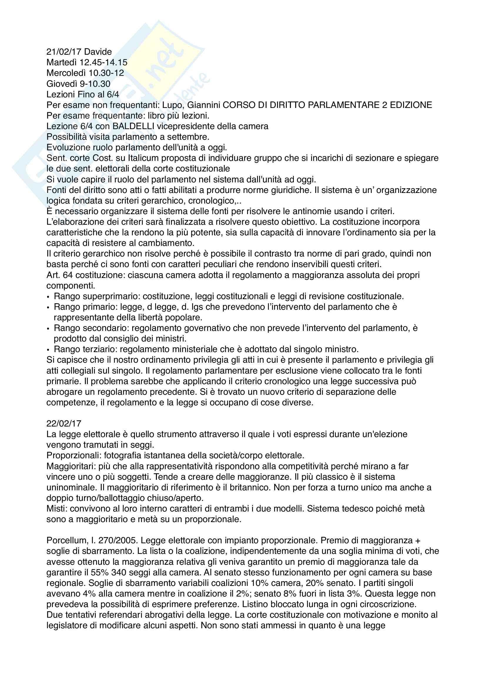 Diritto parlamentare