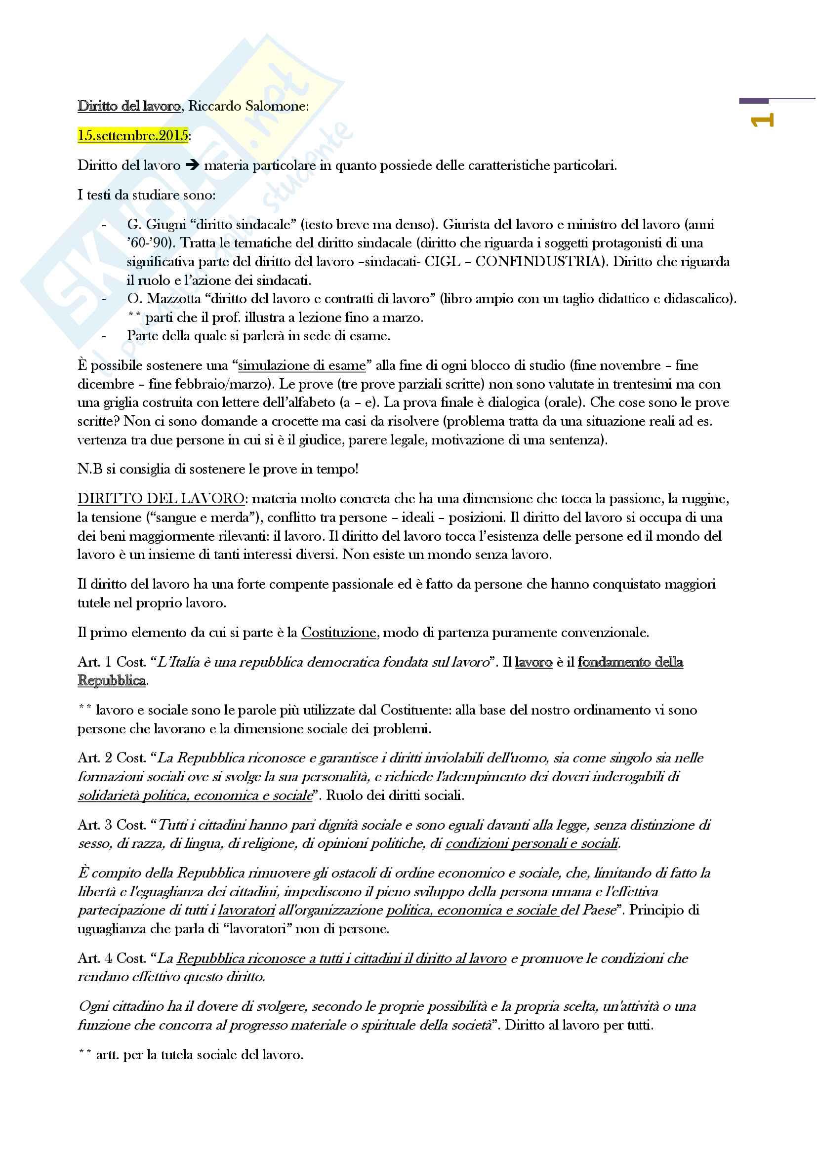 Diritto del lavoro (Prof. Salomone Unitn)
