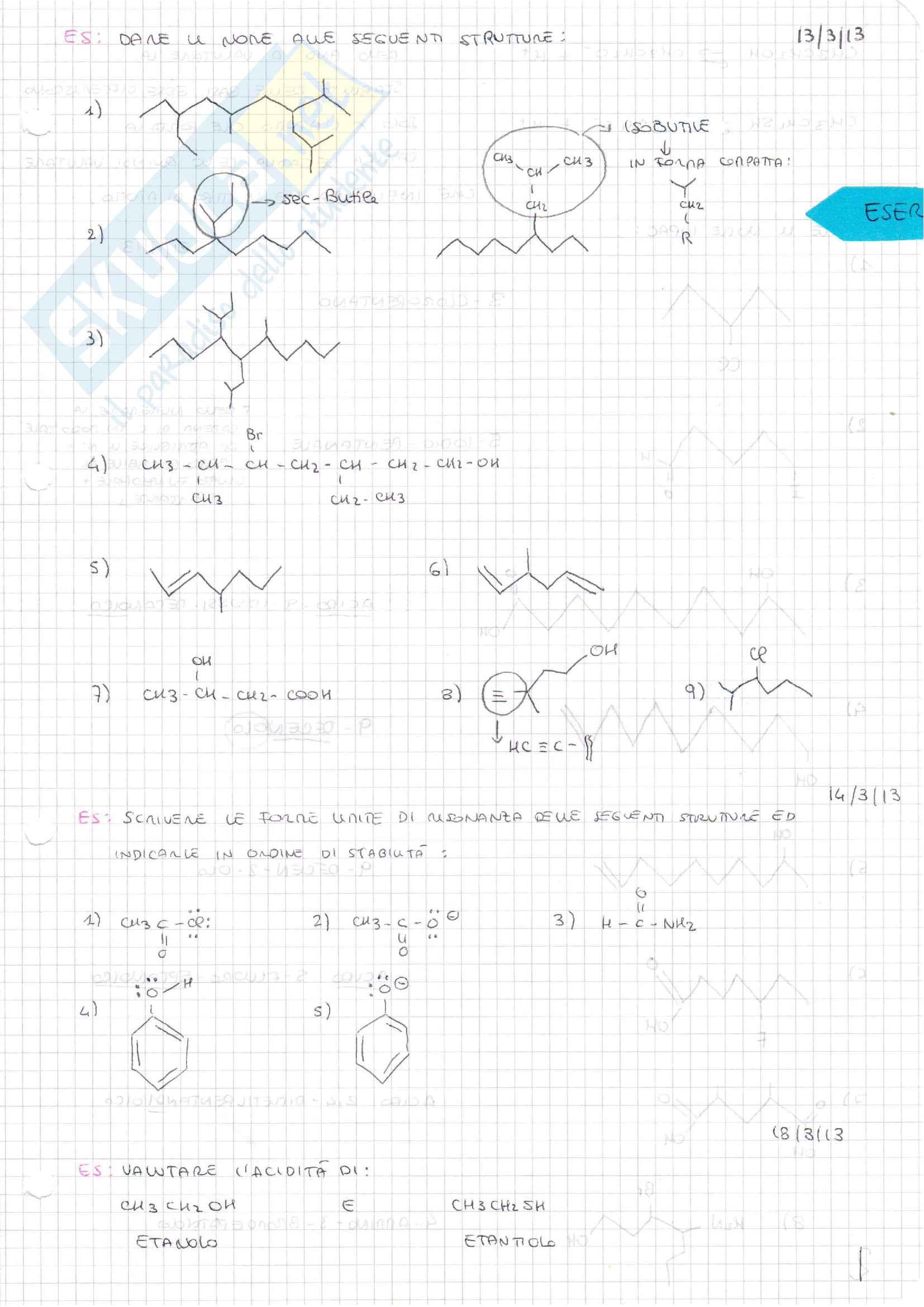 Esercizi chimica organica