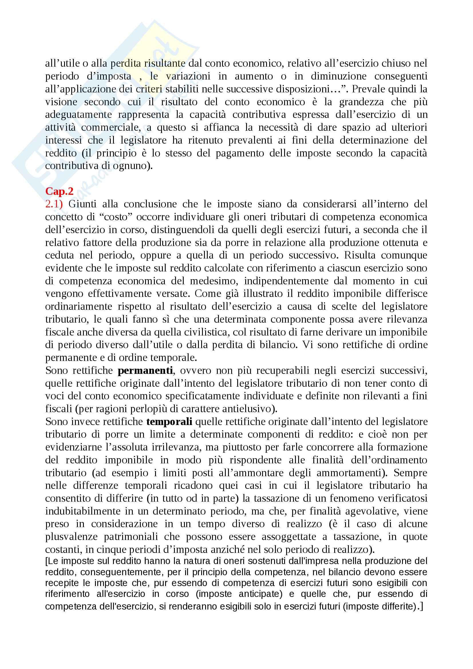 Prof Ricci fiscalità nel bilancio d'esercizio riassunto preciso Pag. 2
