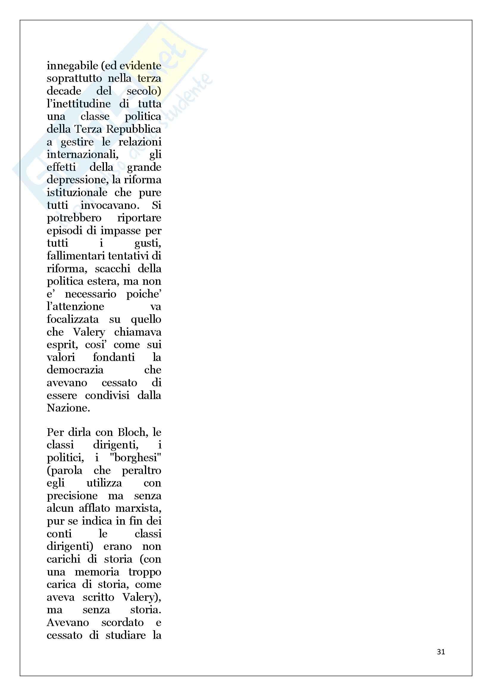 Riassunto esame Storia Contemporanea, prof. Ceretta, libro consigliato Apologia della storia o mestiere di storico, Bloch Pag. 31