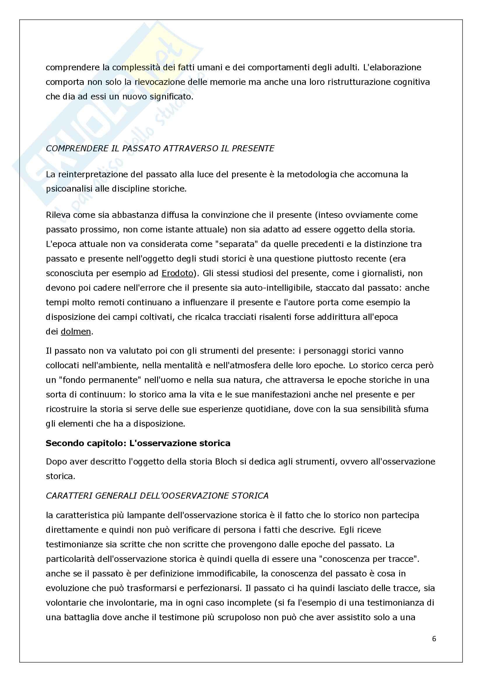 Riassunto esame Storia Contemporanea, prof. Ceretta, libro consigliato Apologia della storia o mestiere di storico, Bloch Pag. 6
