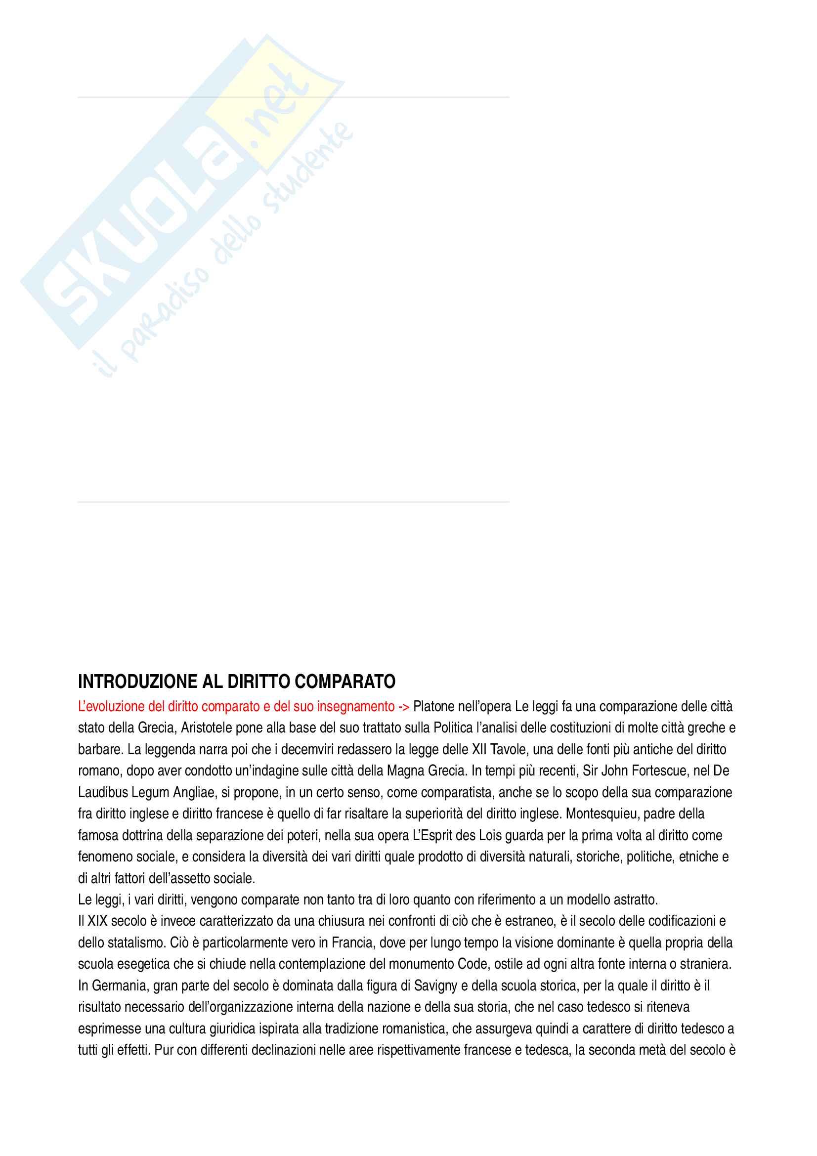 Riassunto esame Sistemi giuridici comparati, prof. Sonelli, libro consigliato La tradizione giuridica occidentale, Varano-Barsotti, Giappichelli Editore, V edizione
