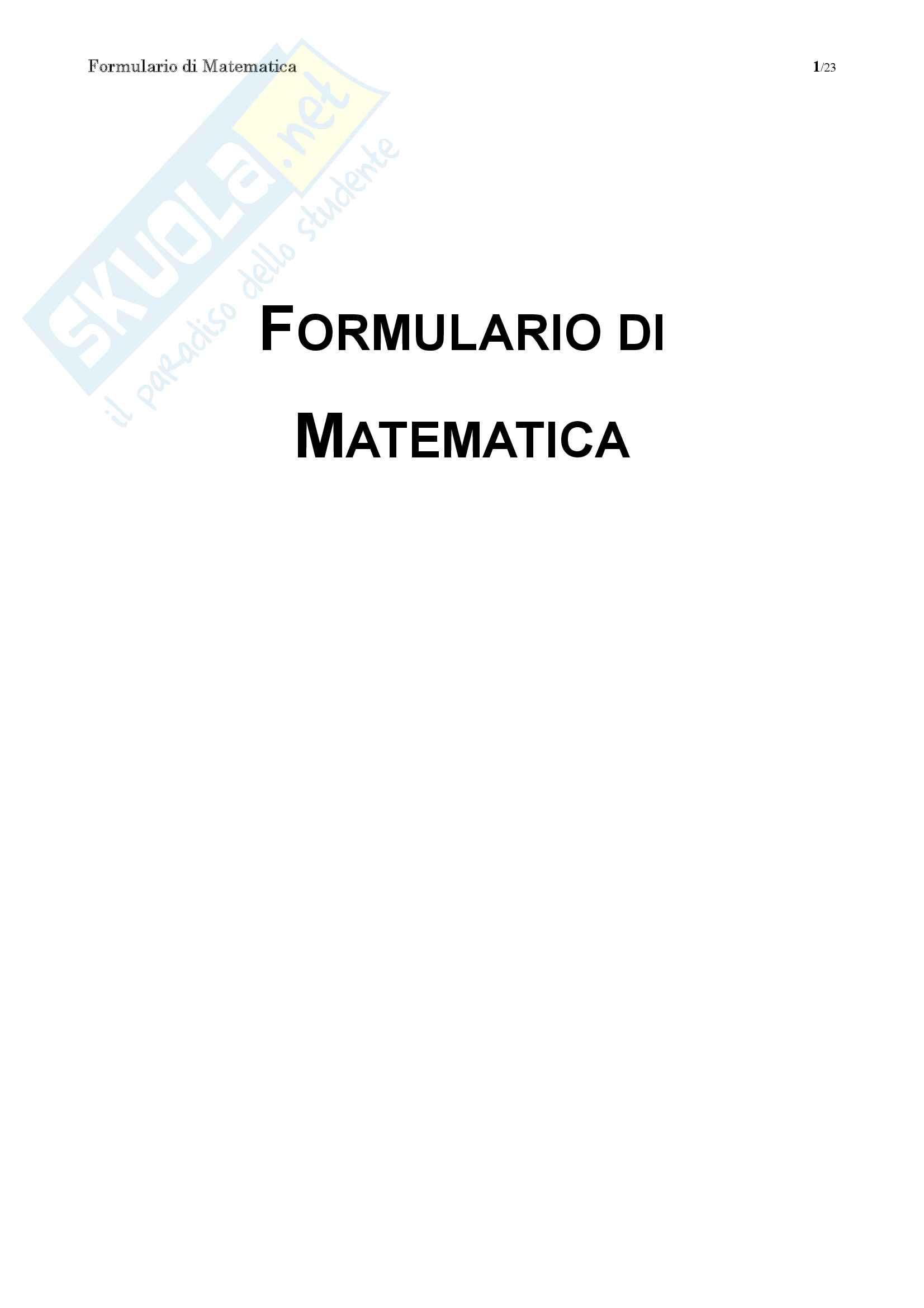 Formulario completo Matematica Generale