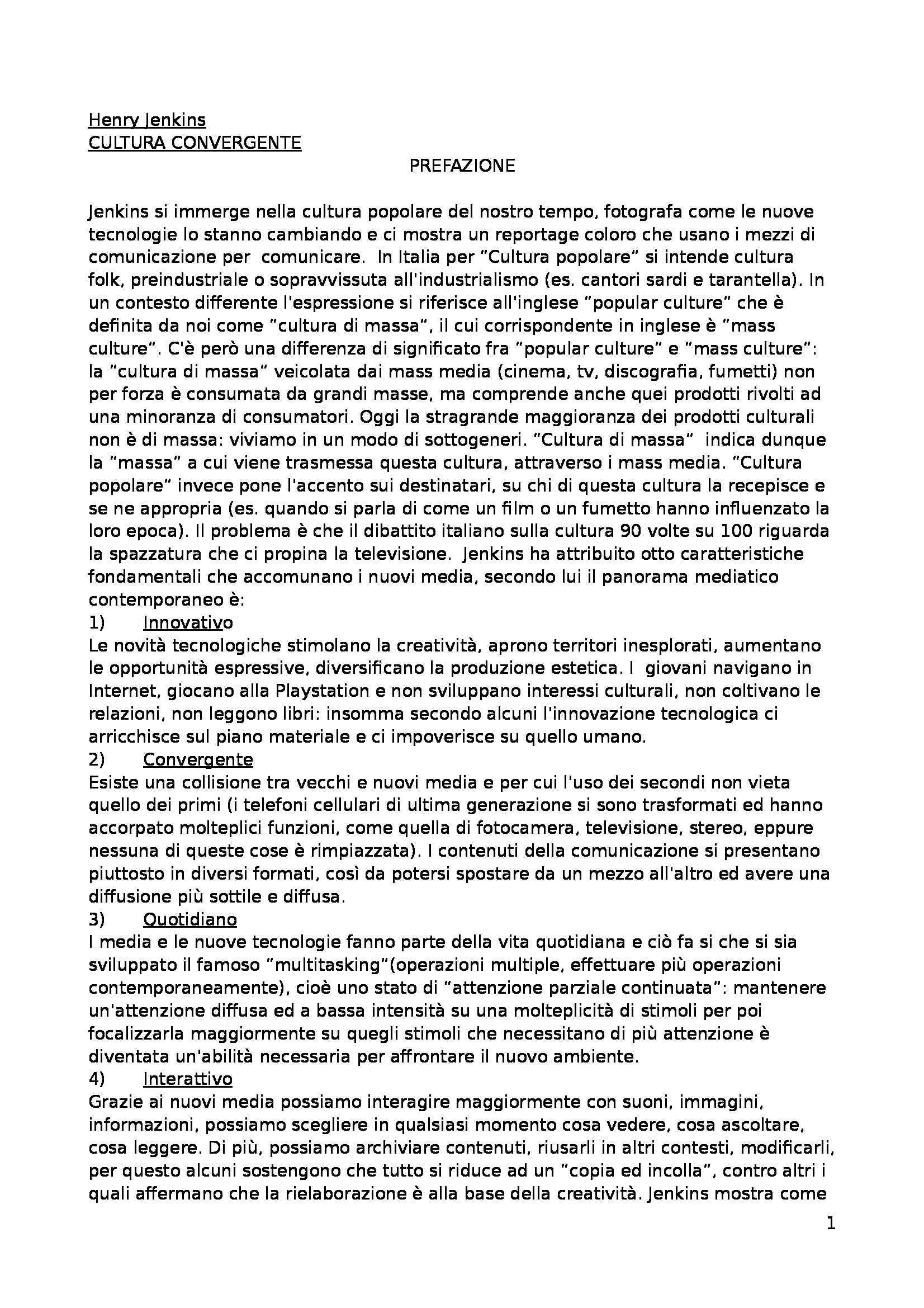 Riassunto esame Comunicazione di massa, prof. Bellavita, libro consigliato Cultura convergente, Jenkins cap 1-2-3 e postilla