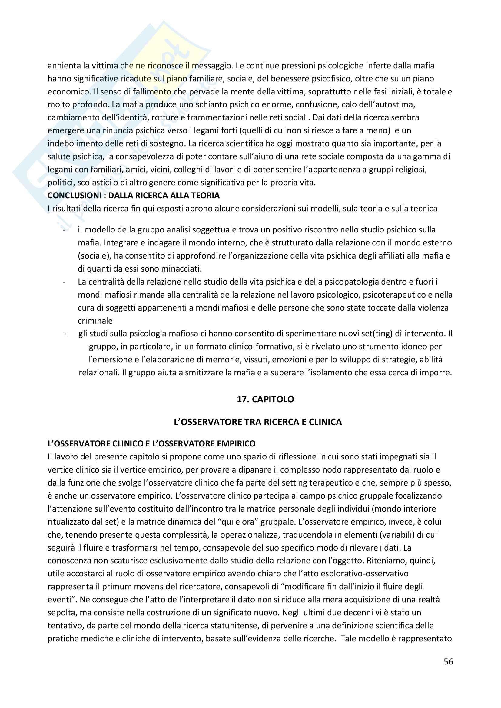 Riassunto esame Psicoterapia, prof. Lo Verso, libro consigliato Gruppoanalisi soggettuale, Lo Verso e Di Blasi Pag. 56