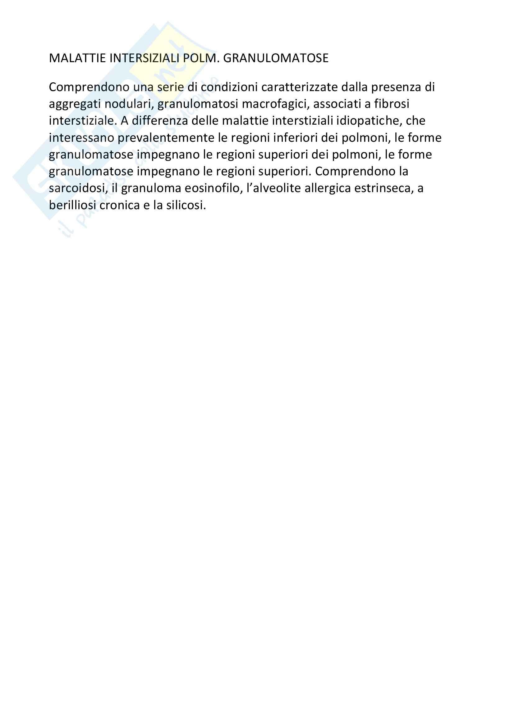 Anatomia patologica - Malattie interstiziali polmonari granulomatose