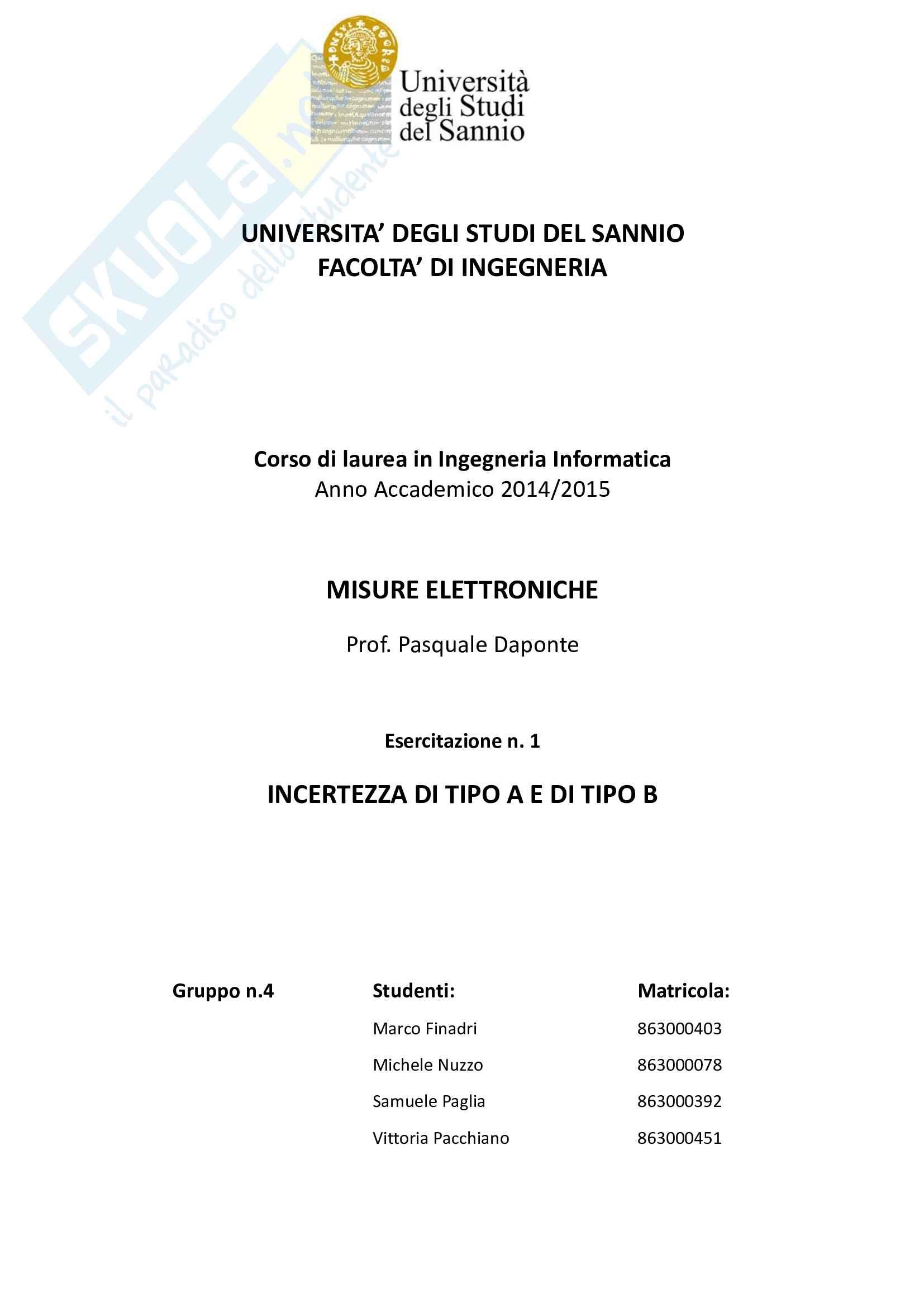 Tesine Misure Elettroniche (file unico delle 4 tesine)