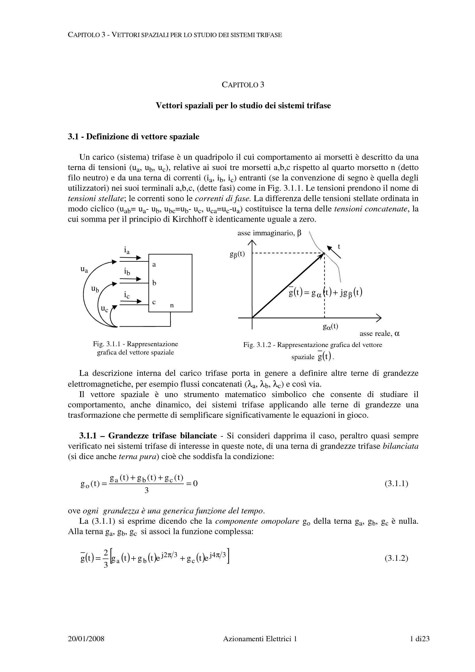 Vettori spaziali per lo studio di sistemi trifase