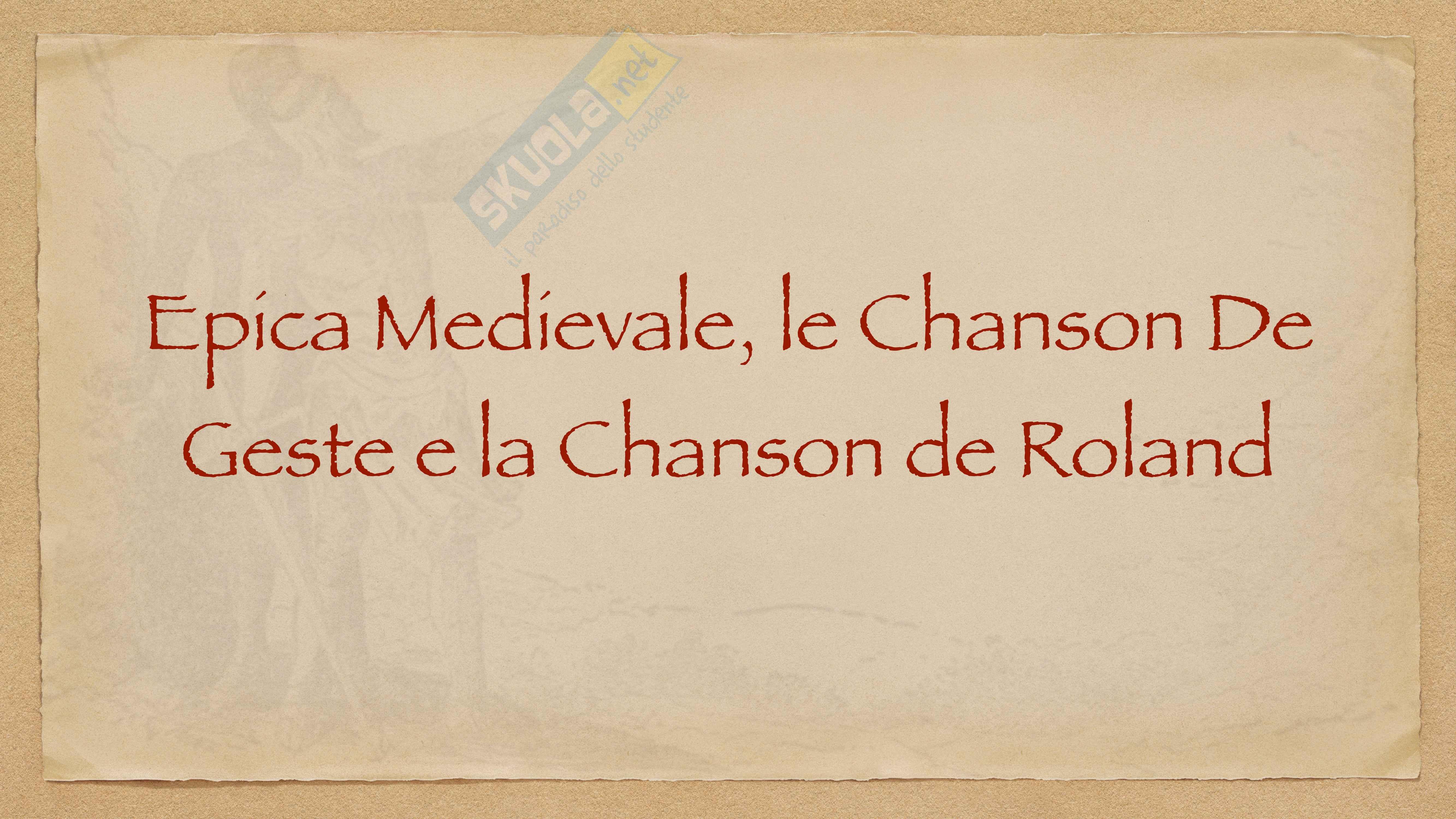 Epica Medievale, le Chanson de Geste e la Canzone di Orlando