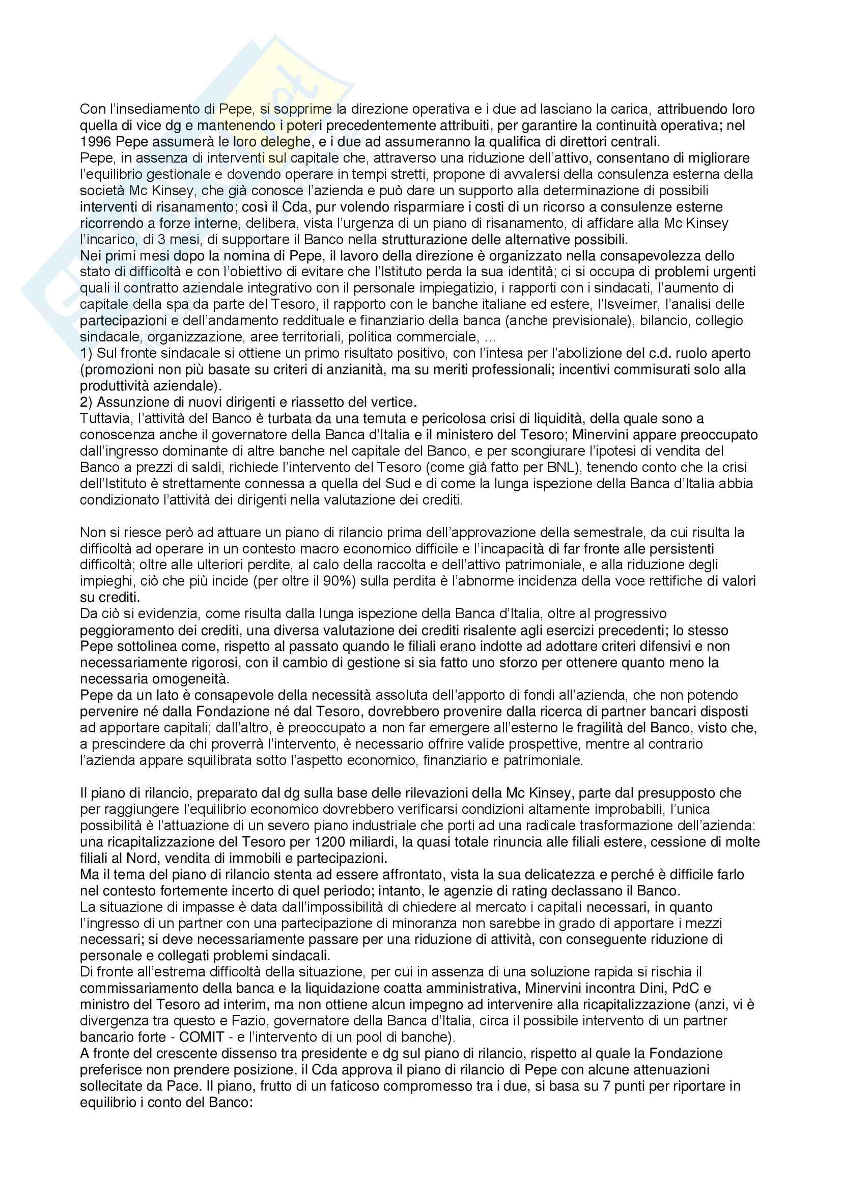 Riassunto esame Storia dell'industria, prof. De Ianni, libro consigliato Banco di Napoli spa 1991-2002: un decennio difficile, De Ianni Pag. 6