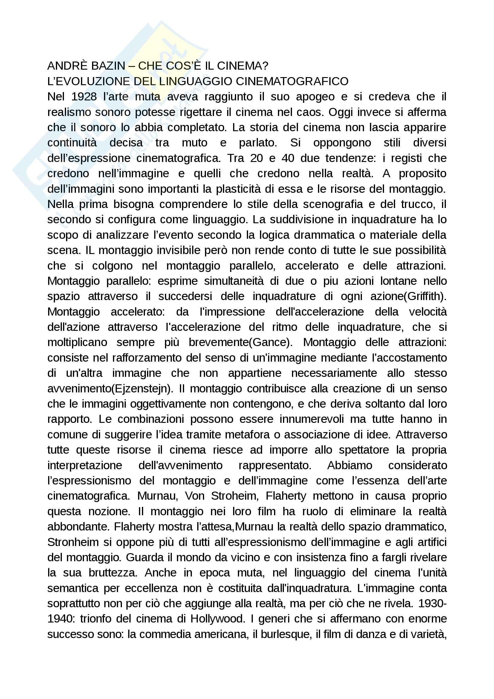 Bazin, Deleuze: Appunti di Cinema