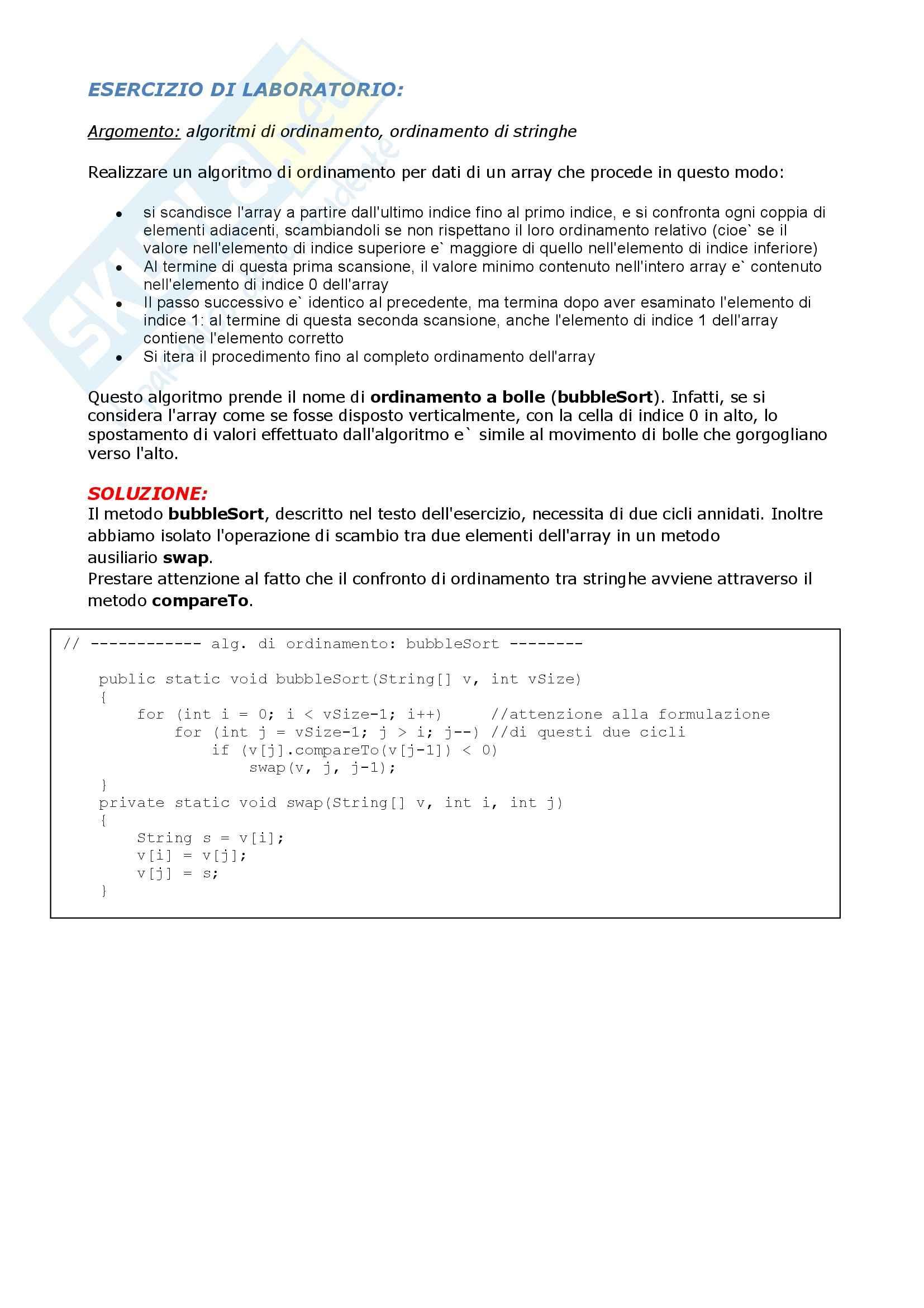 Informatica I - Esercizi bubbleSort