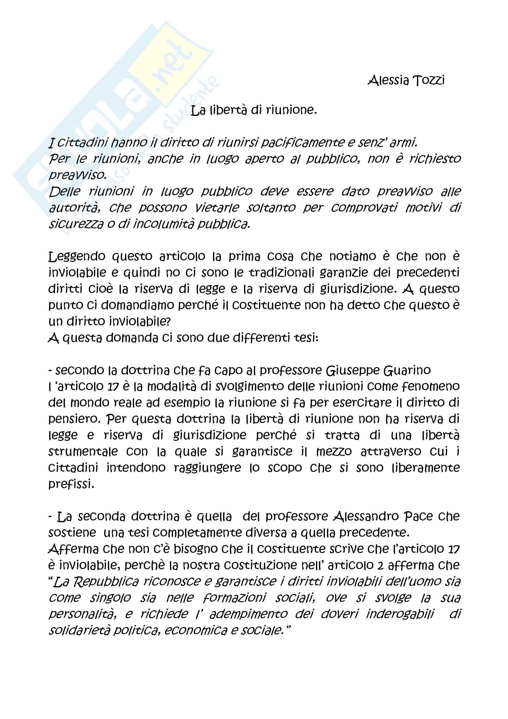 Diritto costituzionale - articolo 17 Costituzione italiana - Tesina