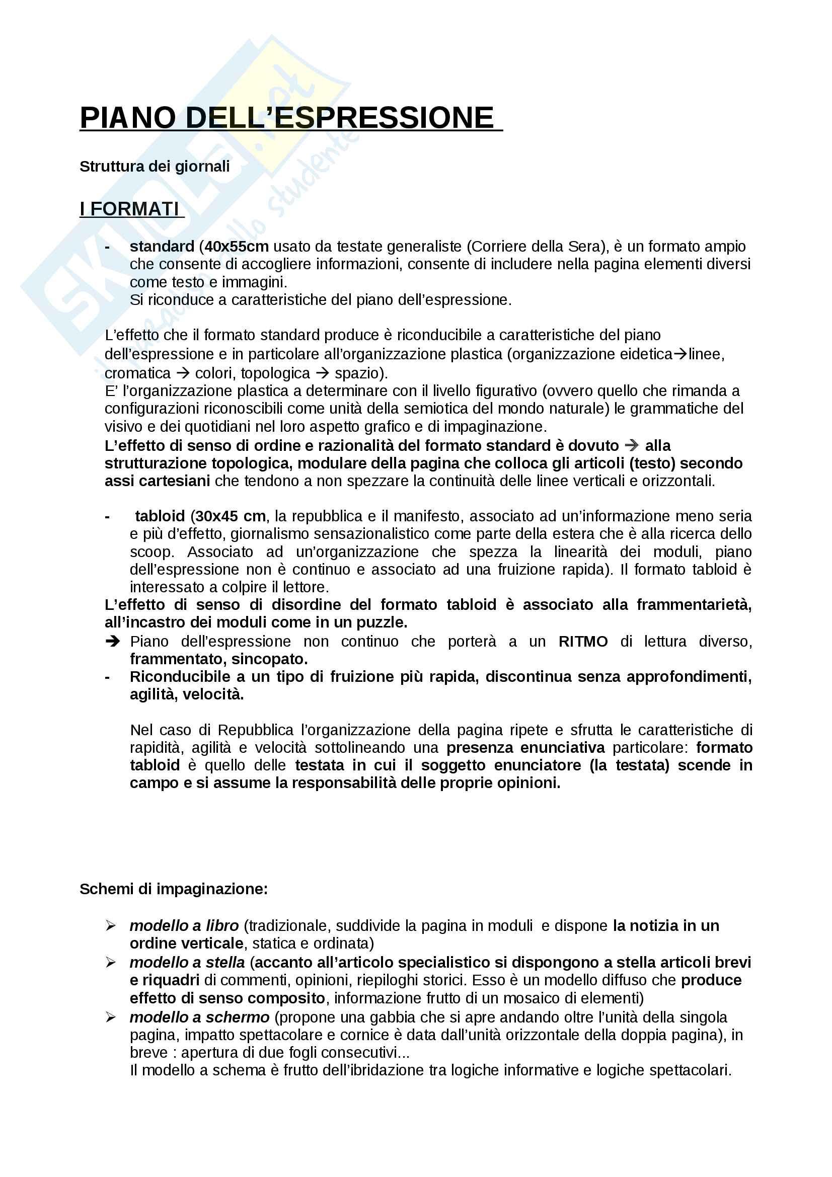 Semiotica del testo giornalistico - Appunti esame  - A. Lorusso, P. Violi