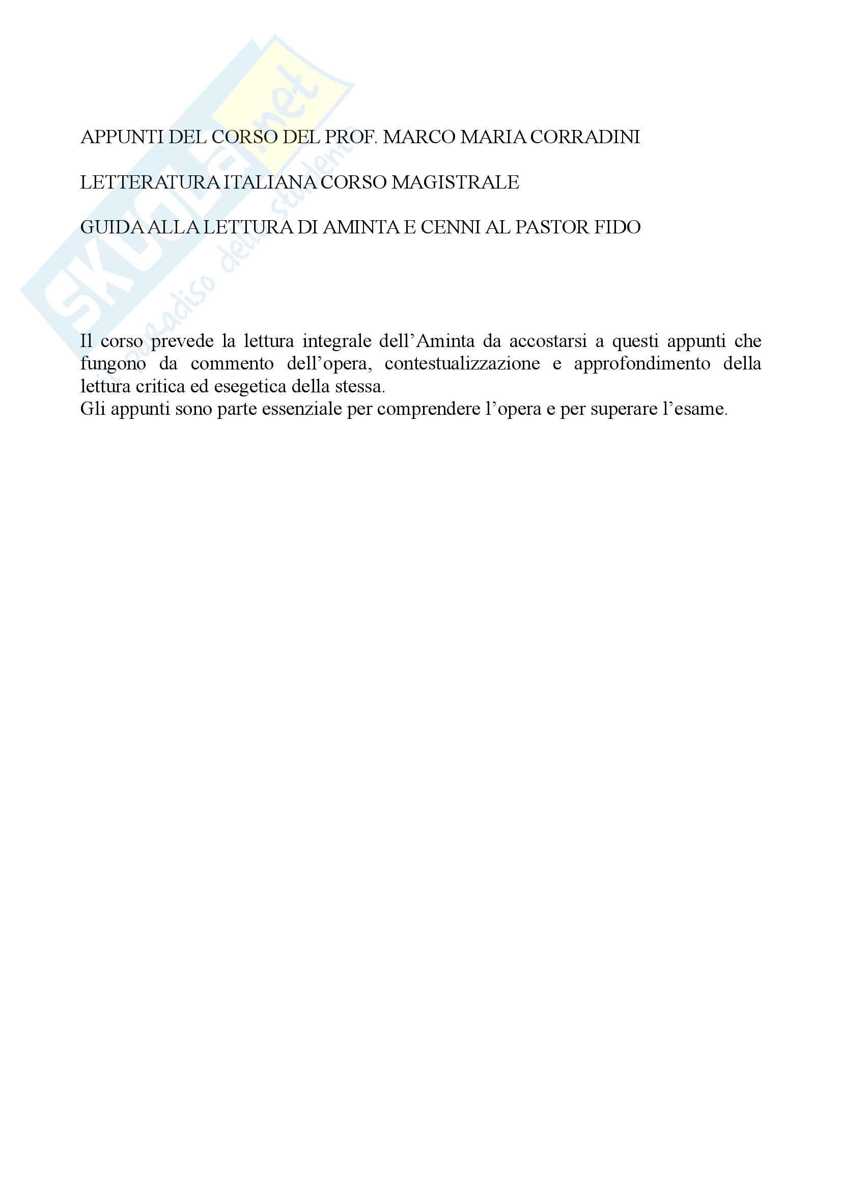 appunto M. Corradini Letteratura italiana