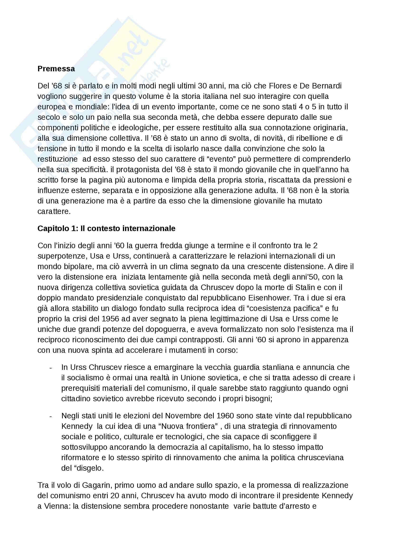 Riassunto esame Storia, prof. Martellini, libro consigliato Il Sessantotto, Flores, De Bernardi