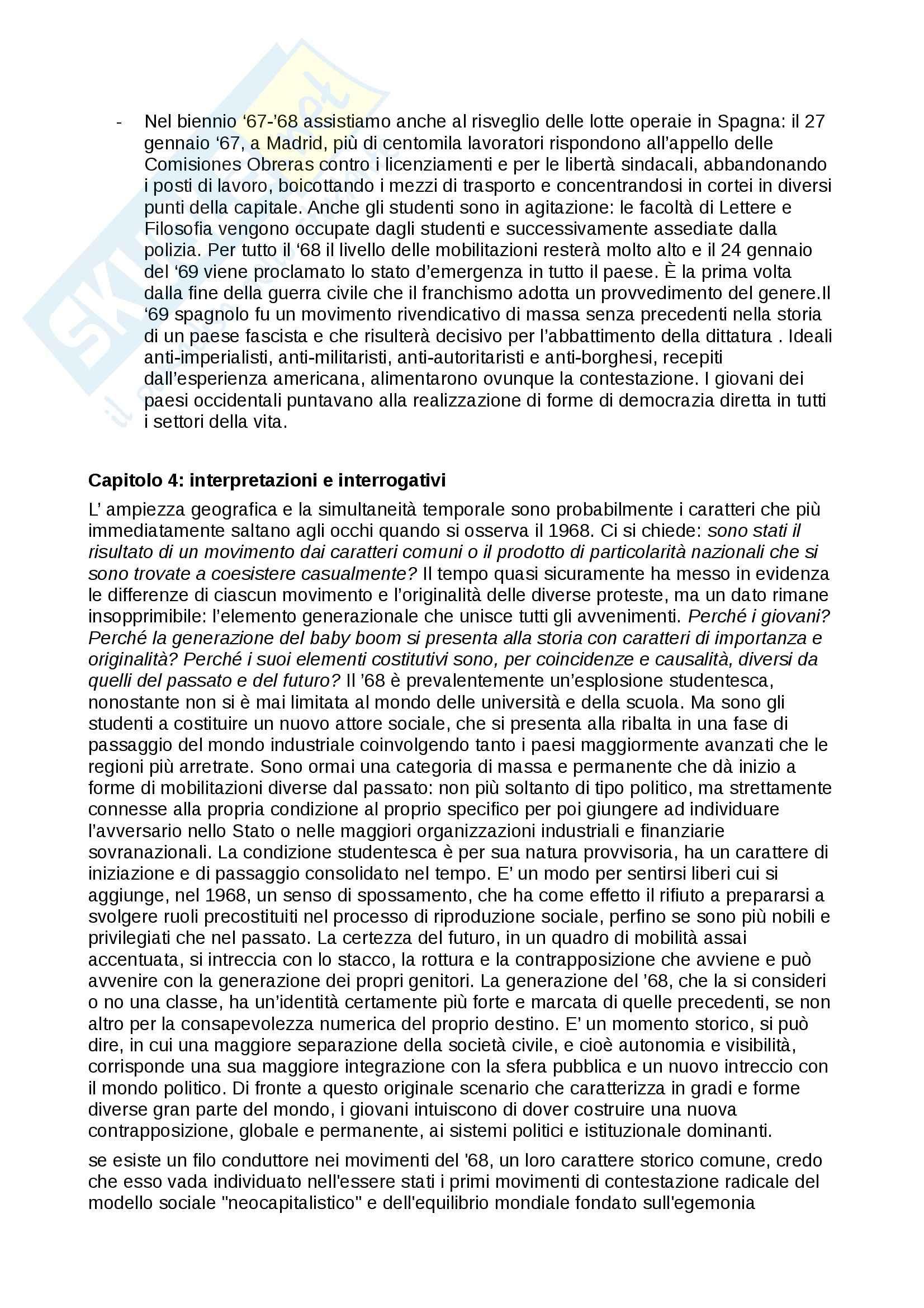Riassunto esame Storia, prof. Martellini, libro consigliato Il Sessantotto, Flores, De Bernardi Pag. 11
