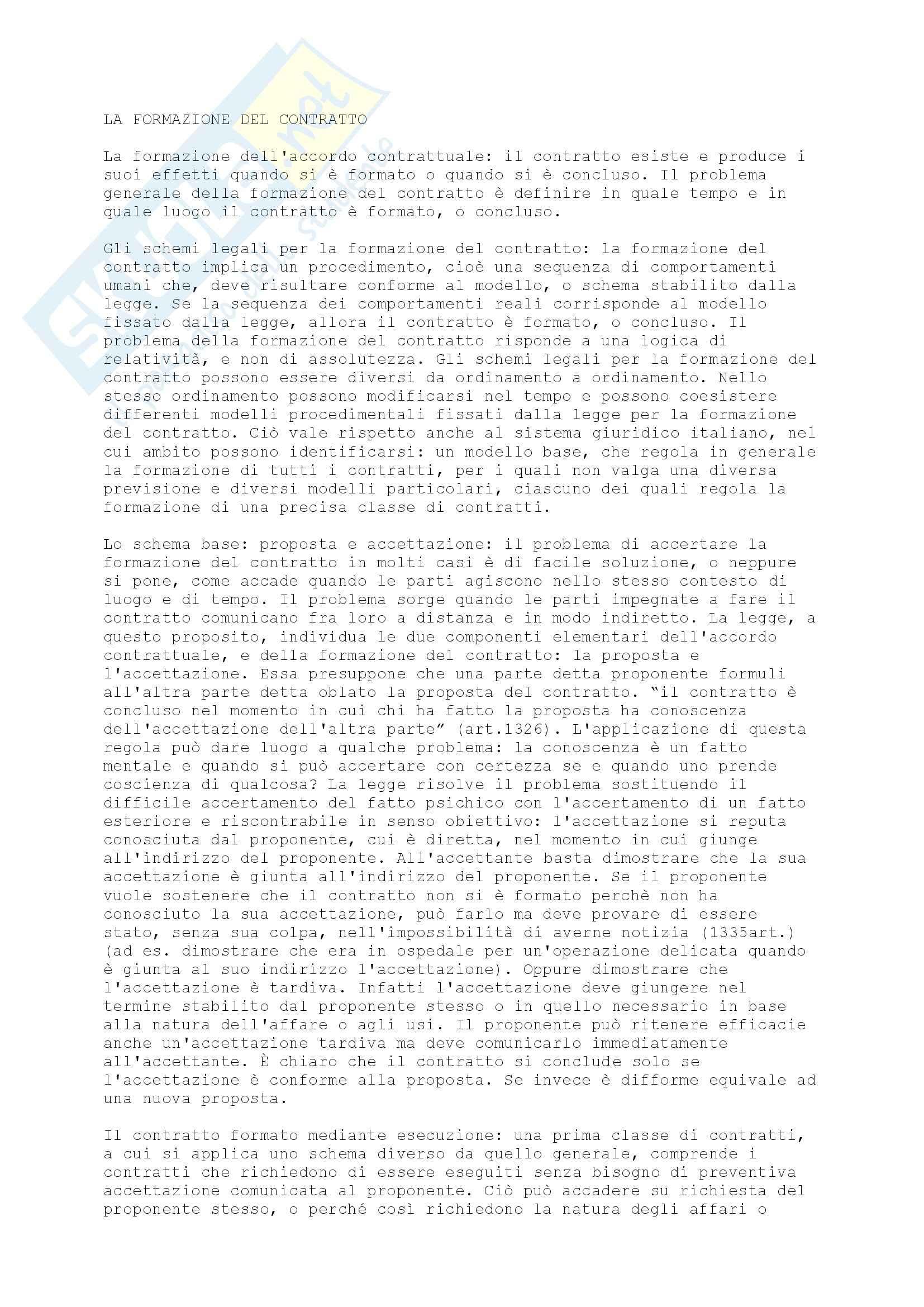 Diritto privato - il contratto
