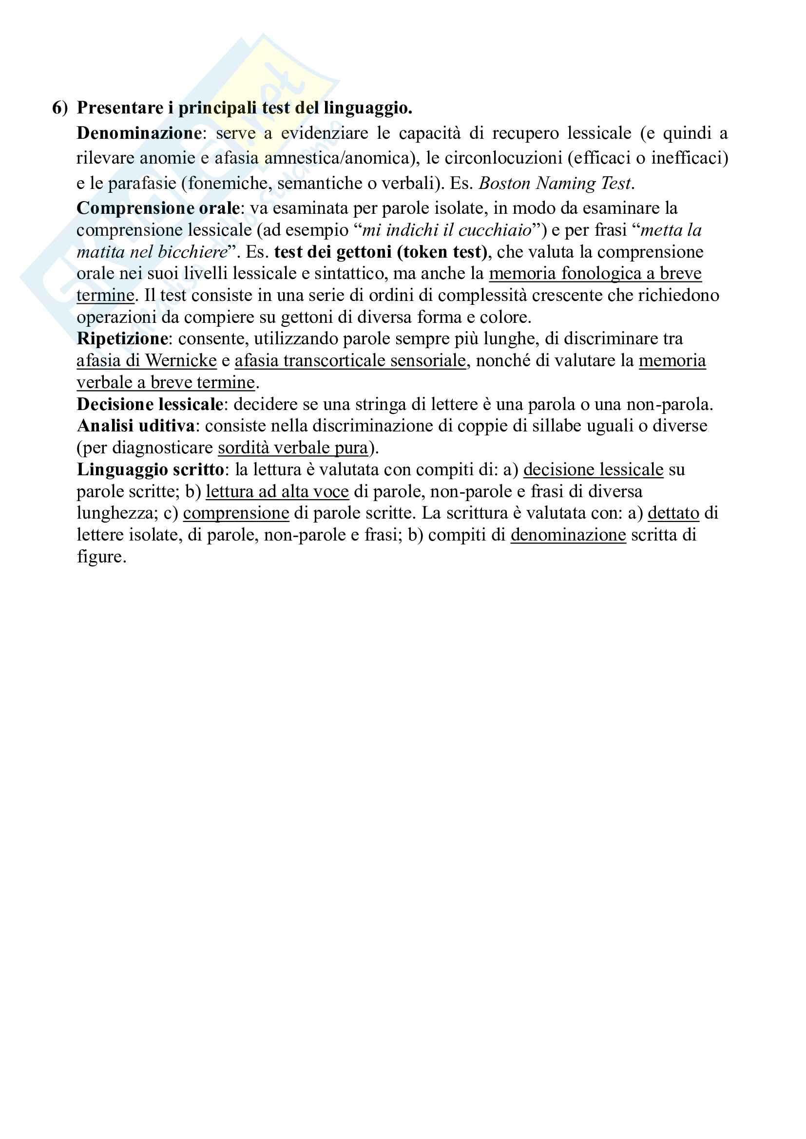 34 domande aperte (e 31 risposte) di Neuropsicologia dell'adulto e dell'anziano (Papagno, Vallar) Pag. 6