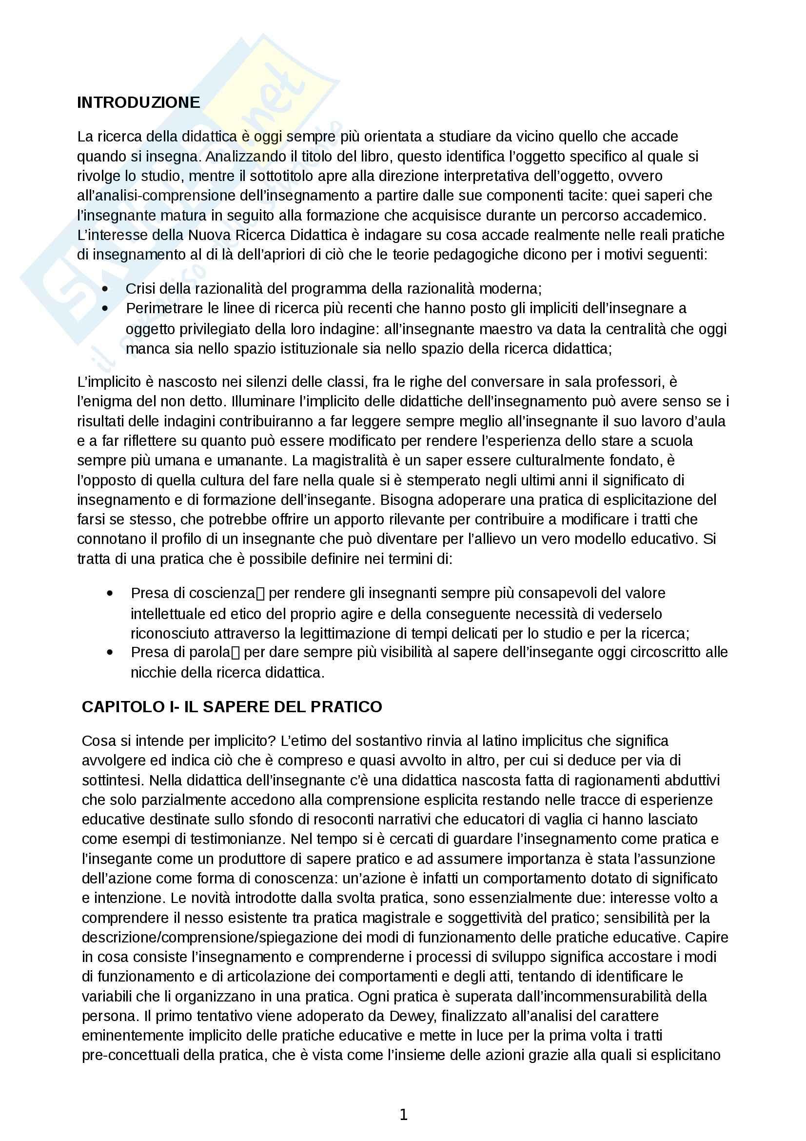 Riassunto esame Analisi dei contesti formativi, prof. Versace, libro consigliato La didattica dell'implicito. Ciò che l'insegnante non sa, Perla