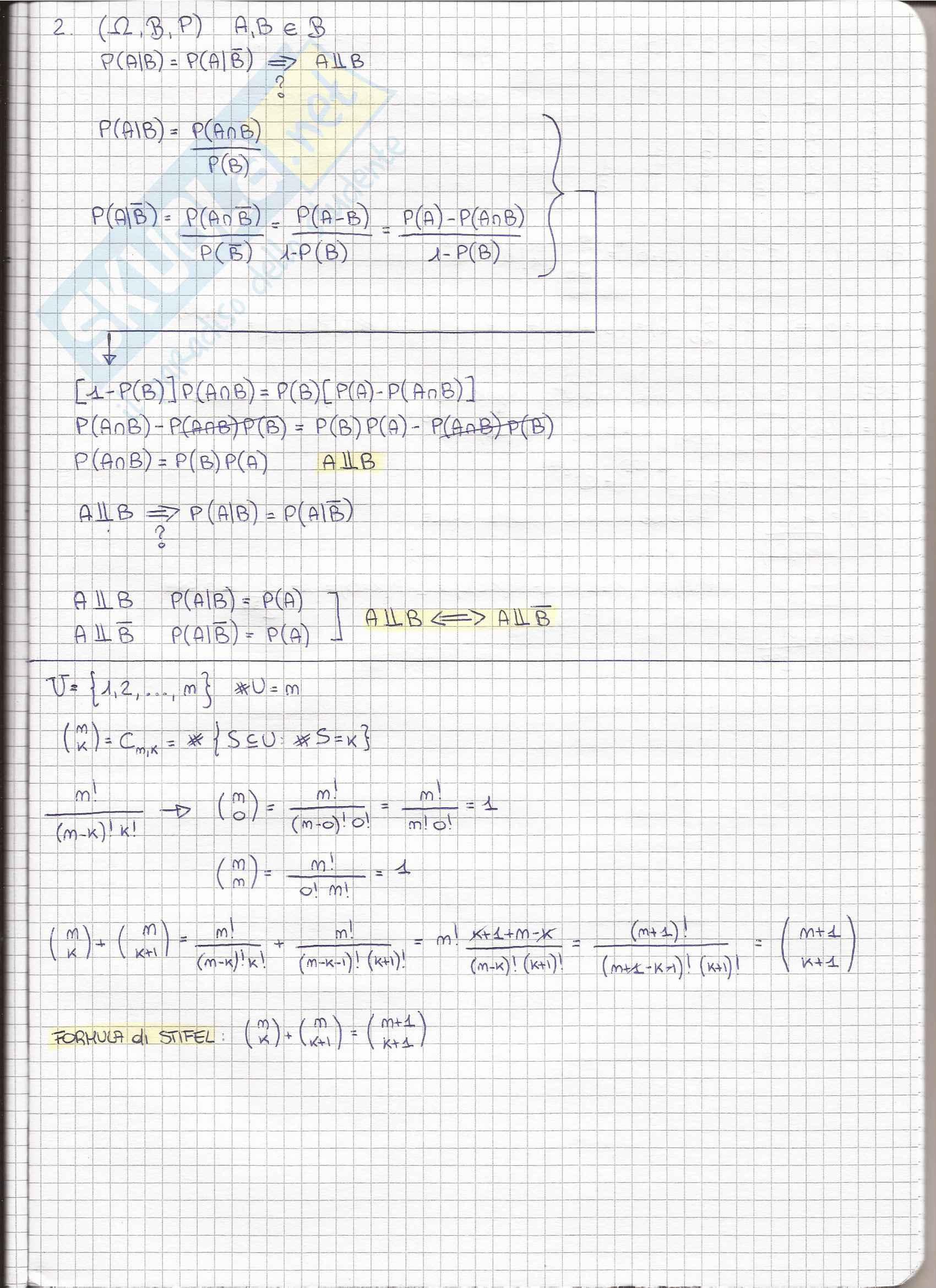 Appunti di Calcolo delle Probabilità Pag. 11