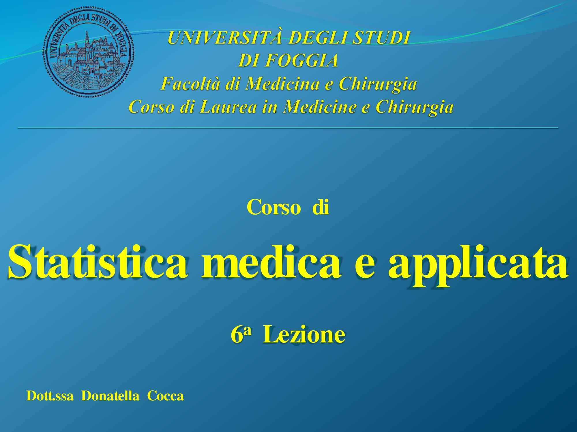 Statistica medica - statistica inferenziale - Dispensa