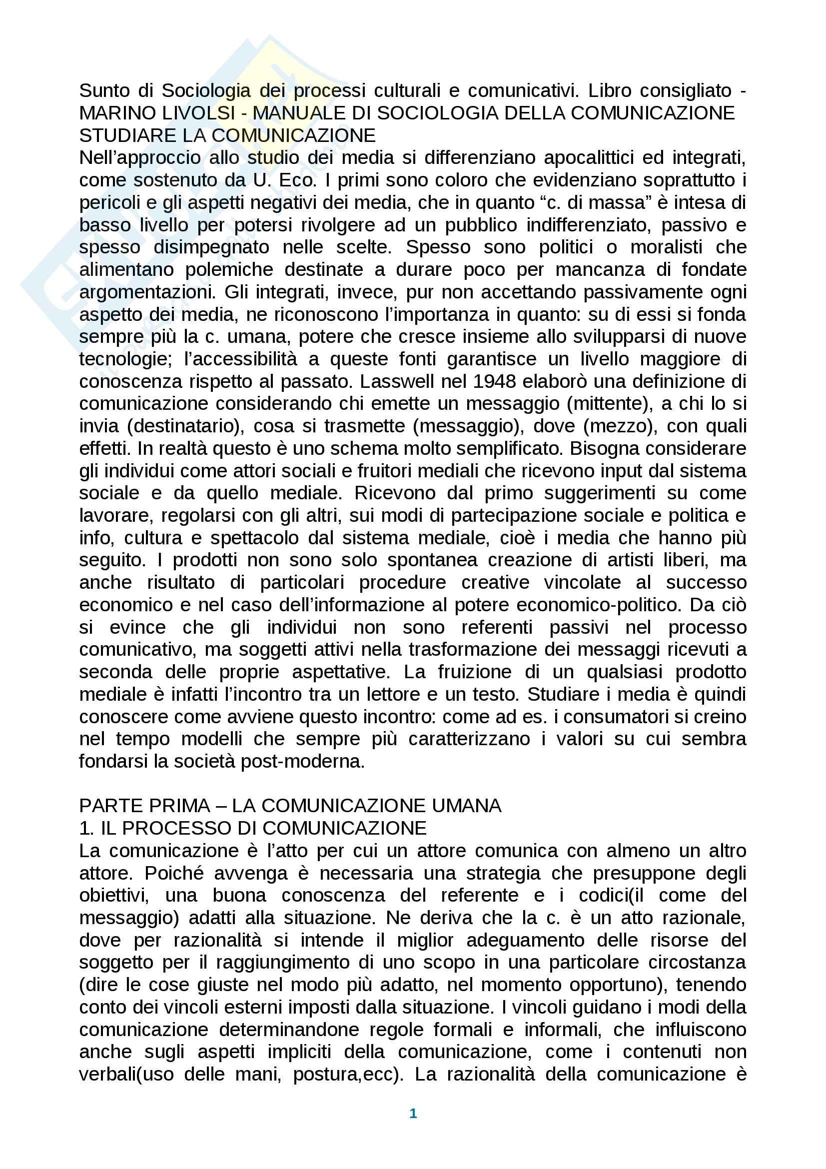 Riassunto esame Sociologia dei processi culturali e comunicativi, prof. Carzo, Libro consigliato Manuale di sociologia della comunicazione, Marino Livolsi