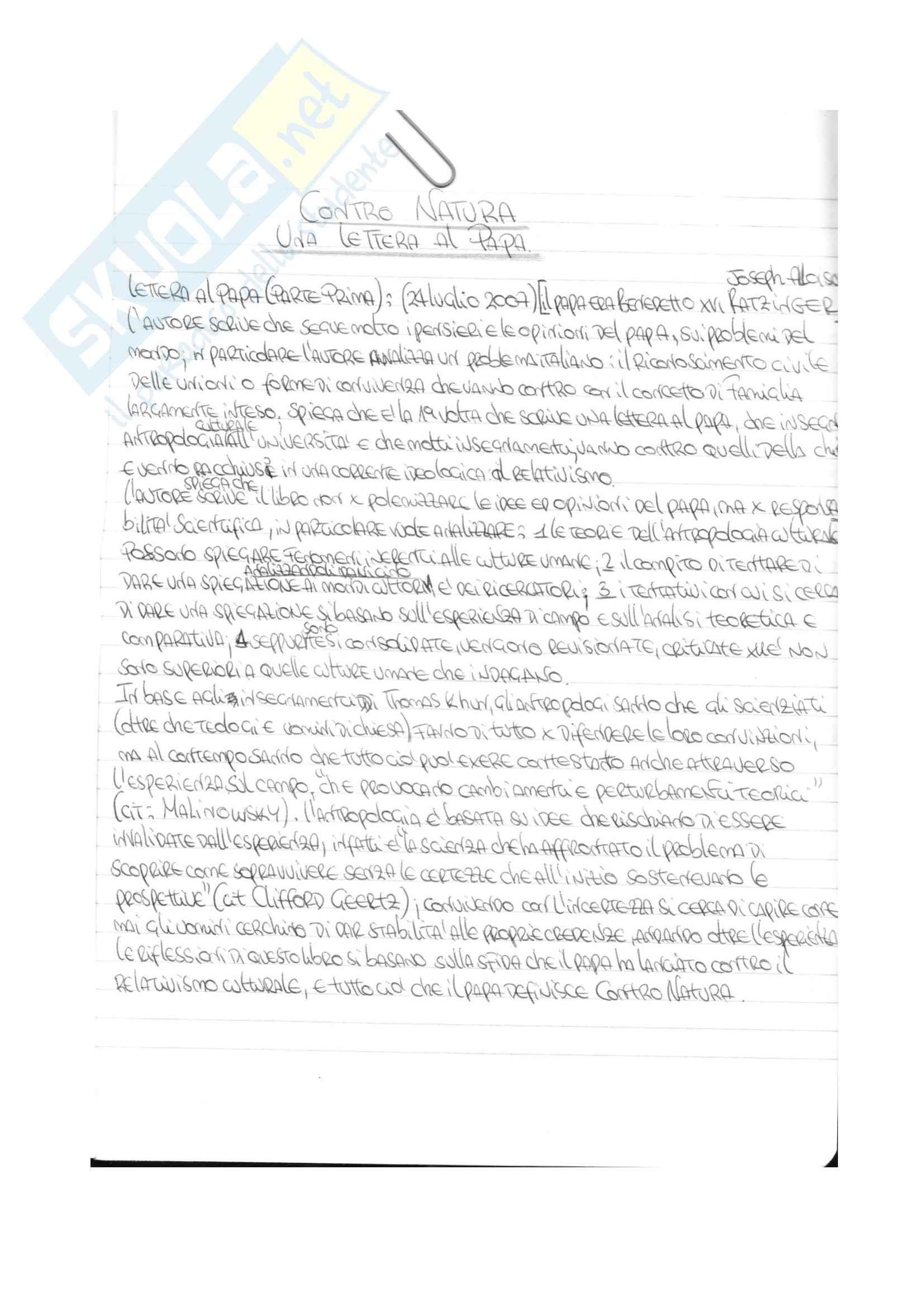 Riassunto esame Sociologia, prof Nucera, libro consigliato Contro natura, Remotti