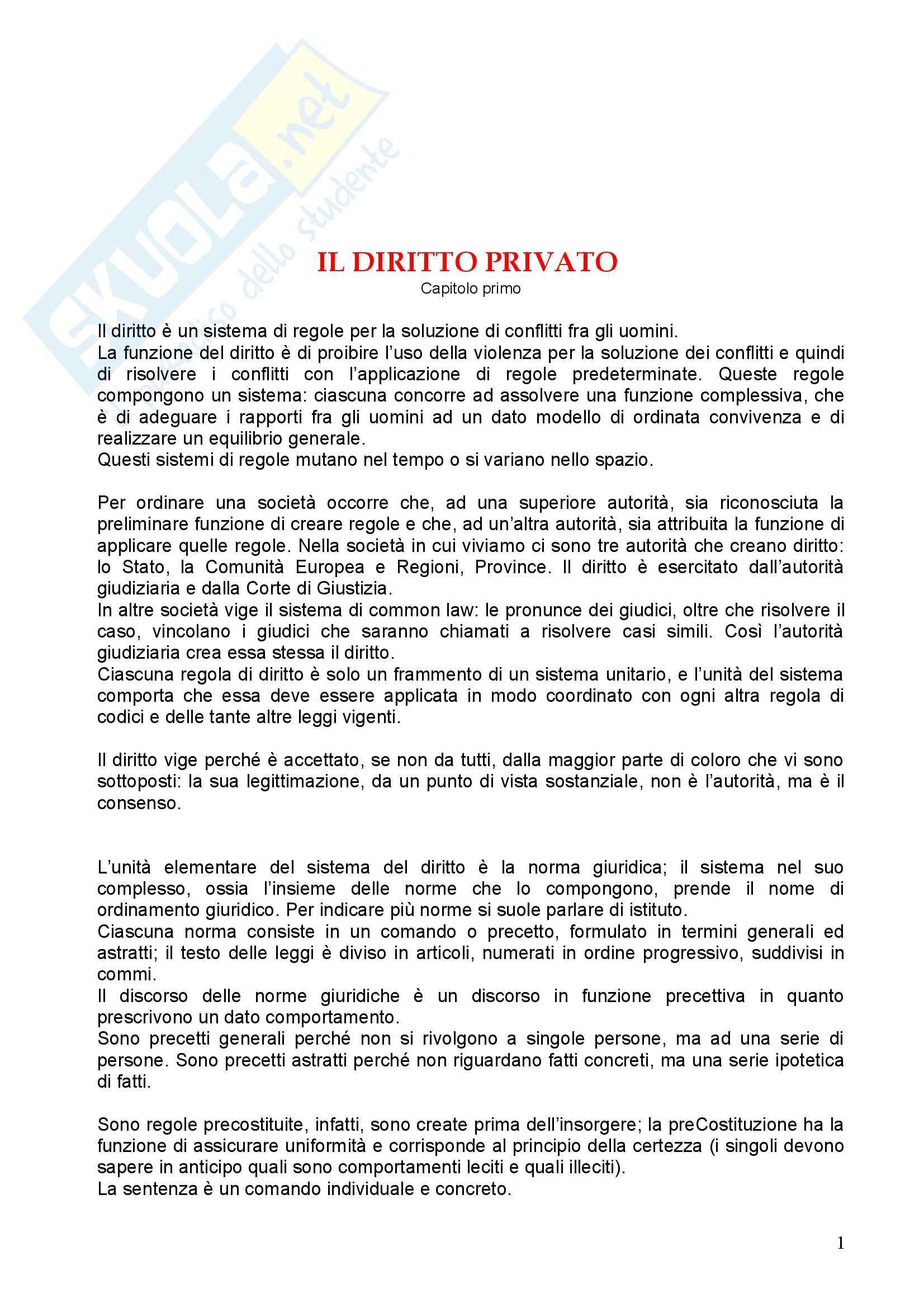 Riassunto esame Diritto Penale, prof. Pascucci, libro consigliato Istituzioni di Diritto Privato