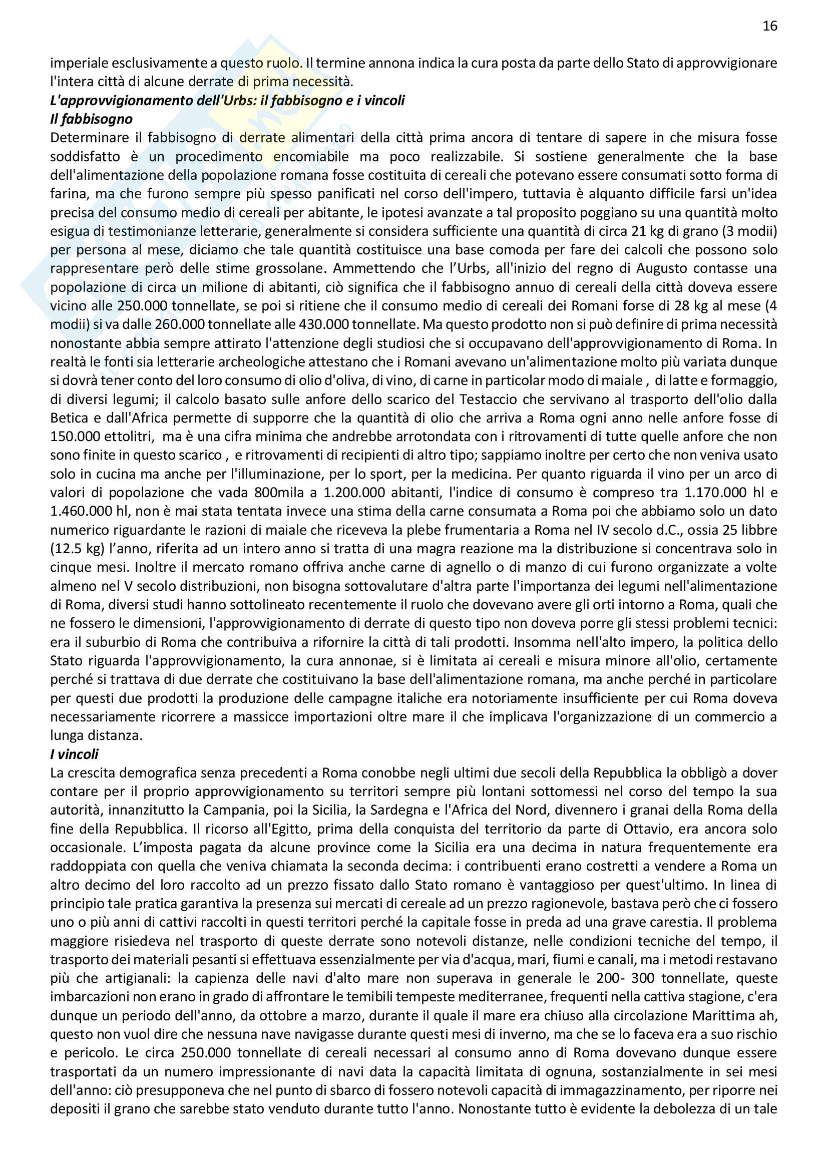 Riassunto esame Antichità e istituzioni romane del professor Gregori, libro consigliato Roma imperiale: una metropoli antica, a cura di Elio Lo Cascio Pag. 16