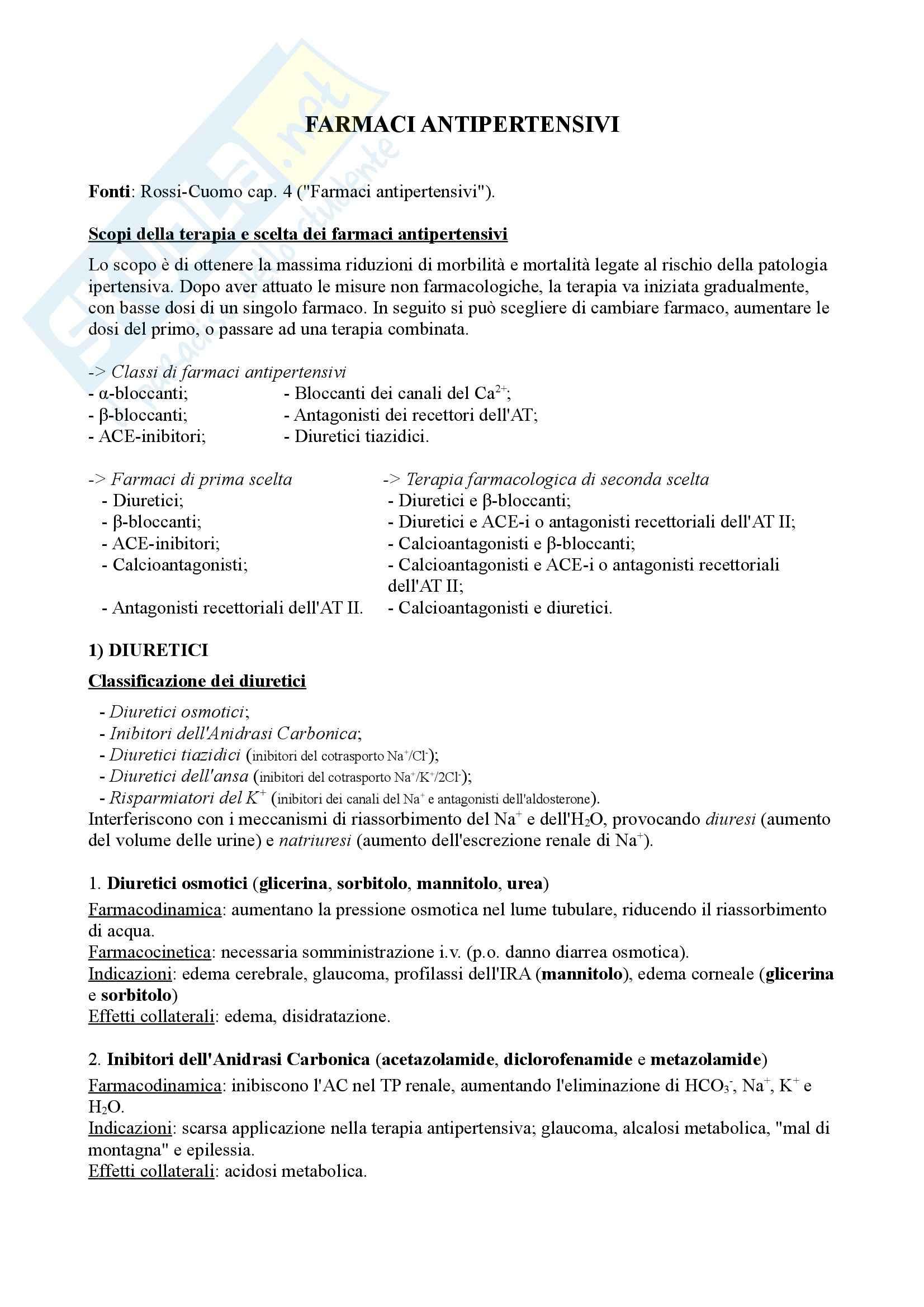 Riassunto esame Farmacologia CV