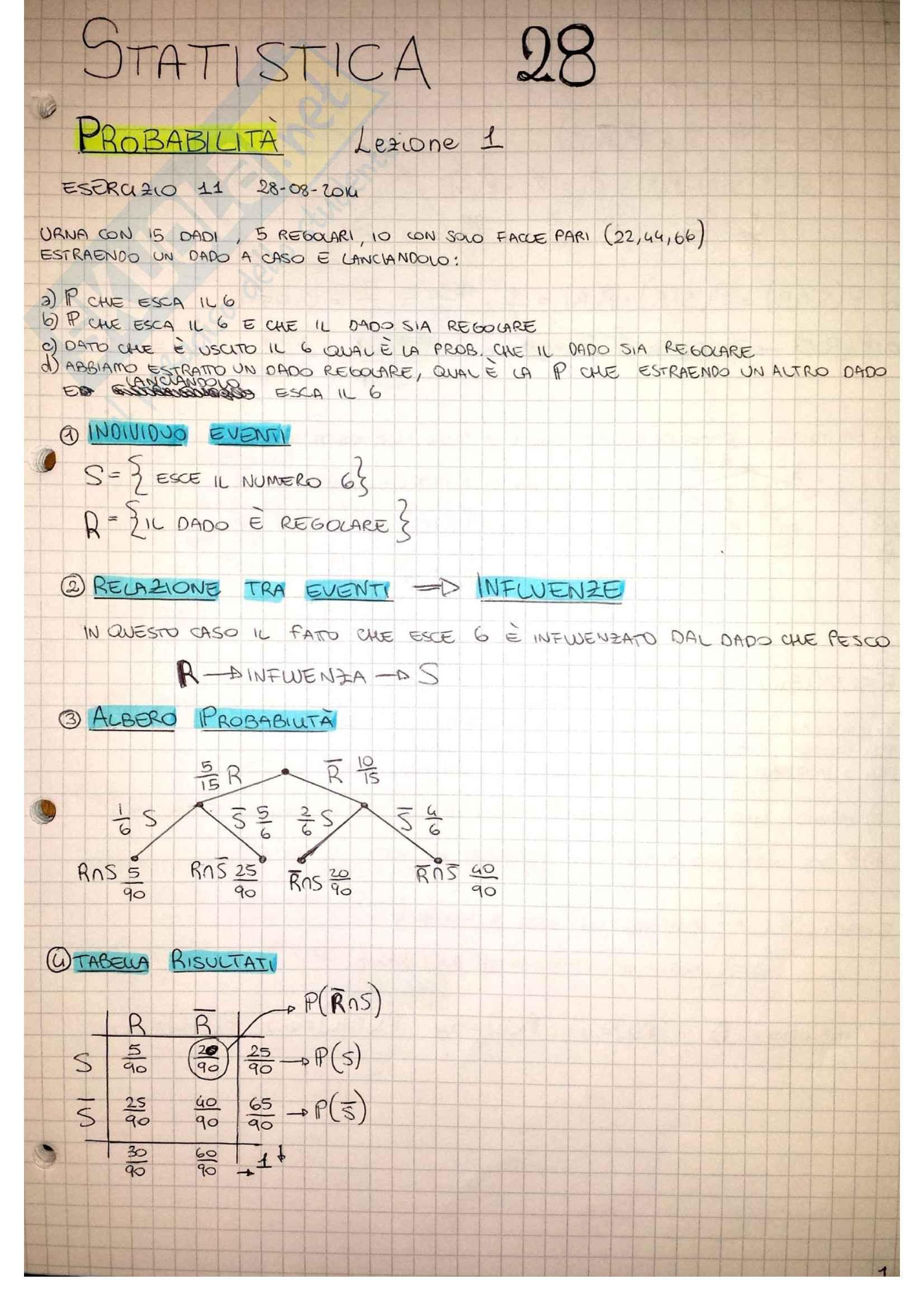 Statistica: Appunti, Riassunti Formule, Esercizi e Teoria