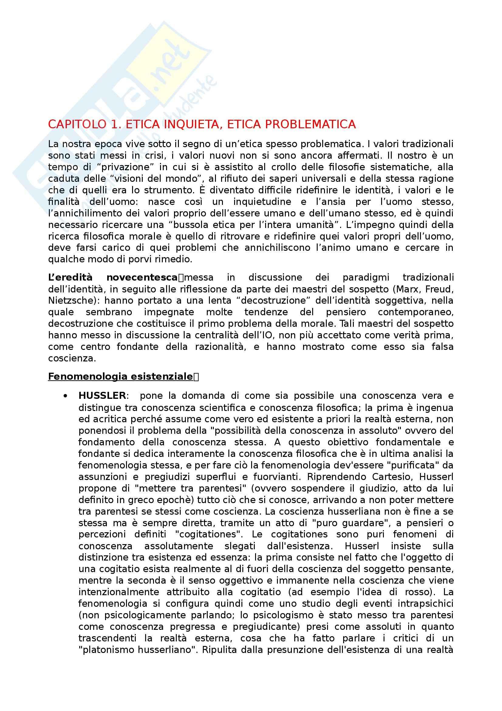 Riassunto esame Filosofia Morale, prof. Battaglia, libro consigliato Piccolo Manuale di Etica Contemporanea, Brezzi