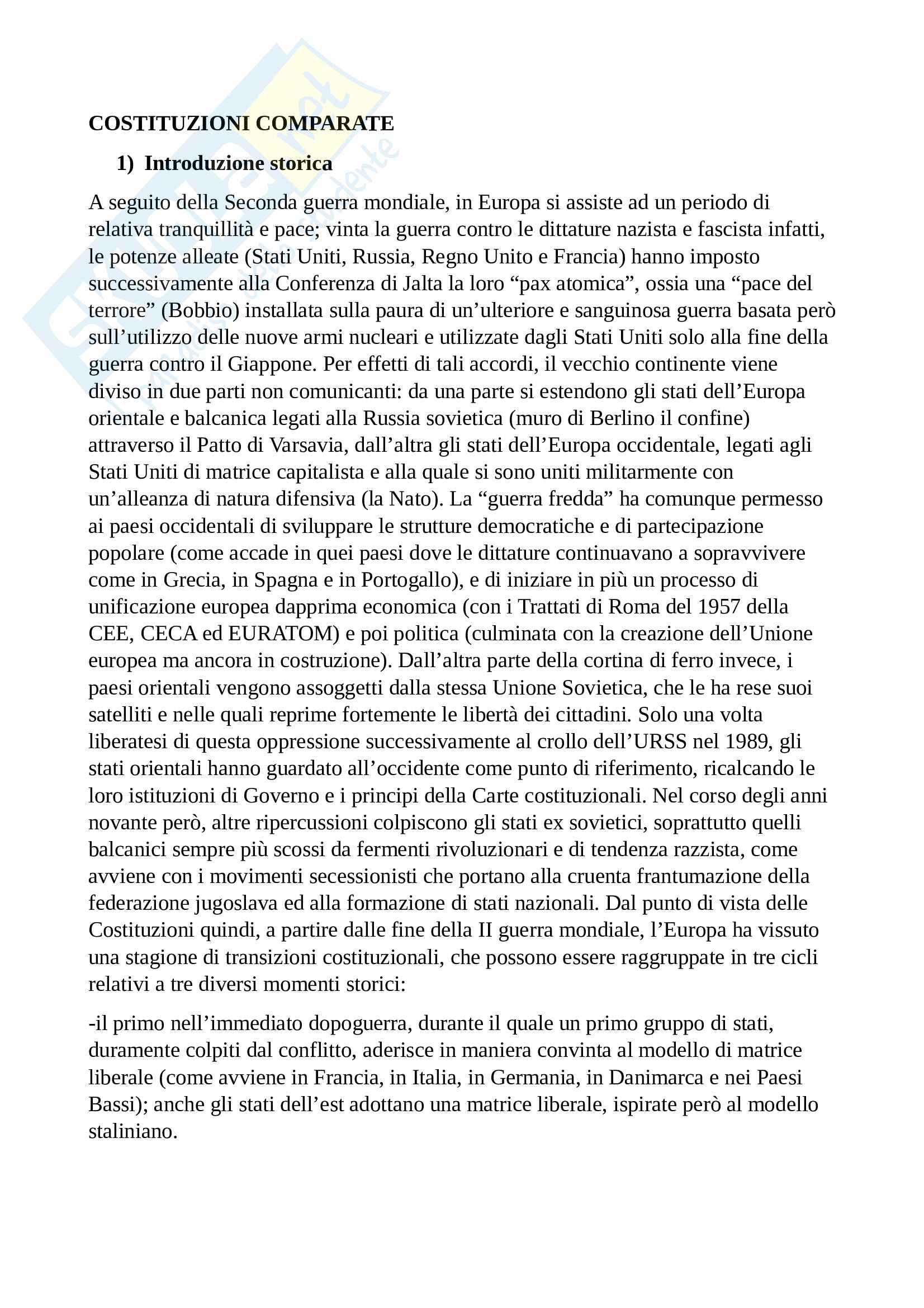Riassunto esame diritto pubblico comparato, Prof. Casella, libro consigliato Libertà e autorità, Volpi (riassunto sulle classificazioni delle forme di Stato e di Governo)