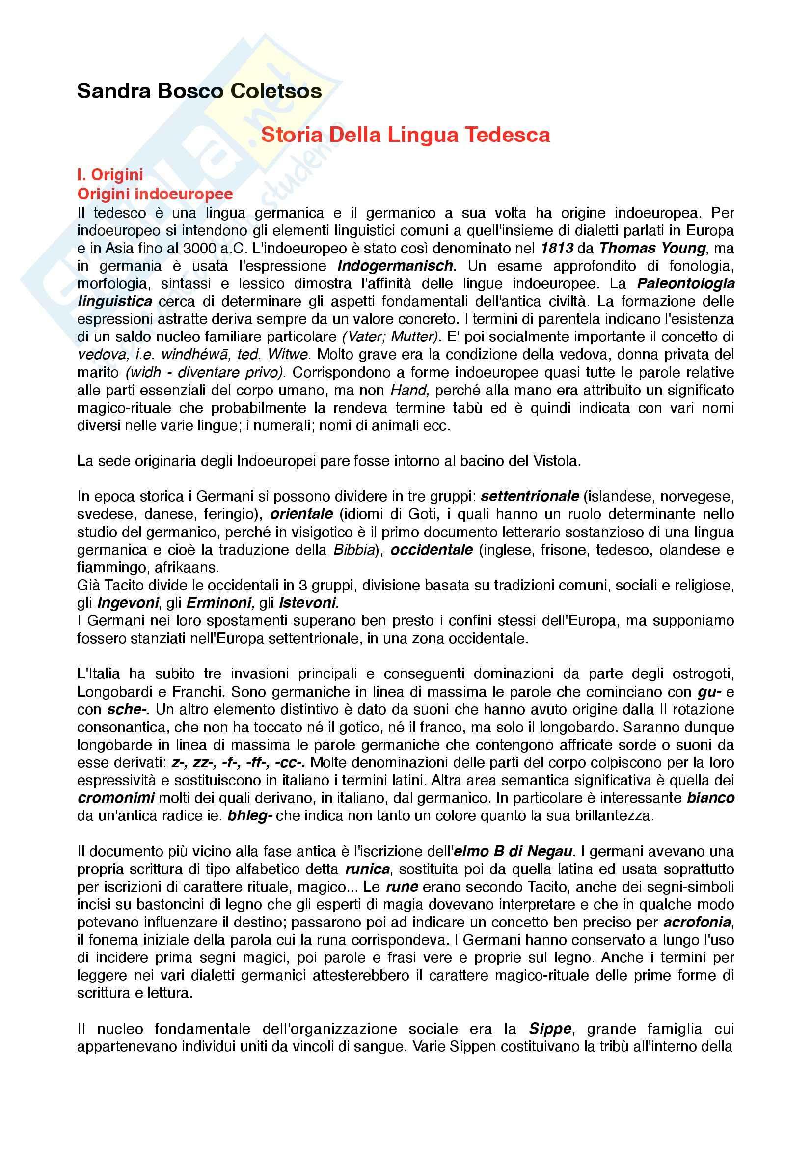 Riassunto esame Lingua Tedesca, prof. Costa, libro consigliato Storia della Lingua Tedesca, Coletsos