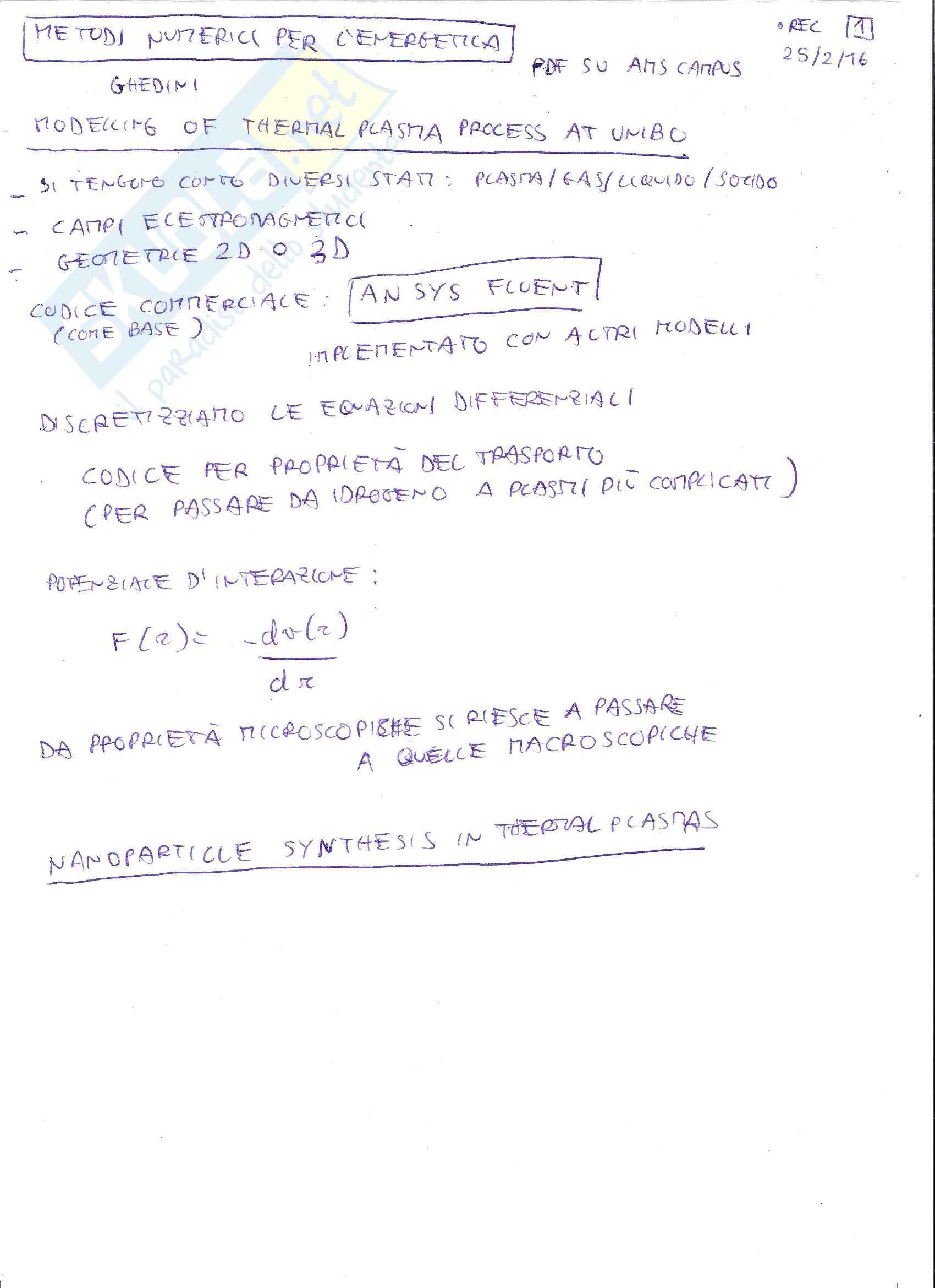 Metodi Numerici per l'Energetica M - Appunto