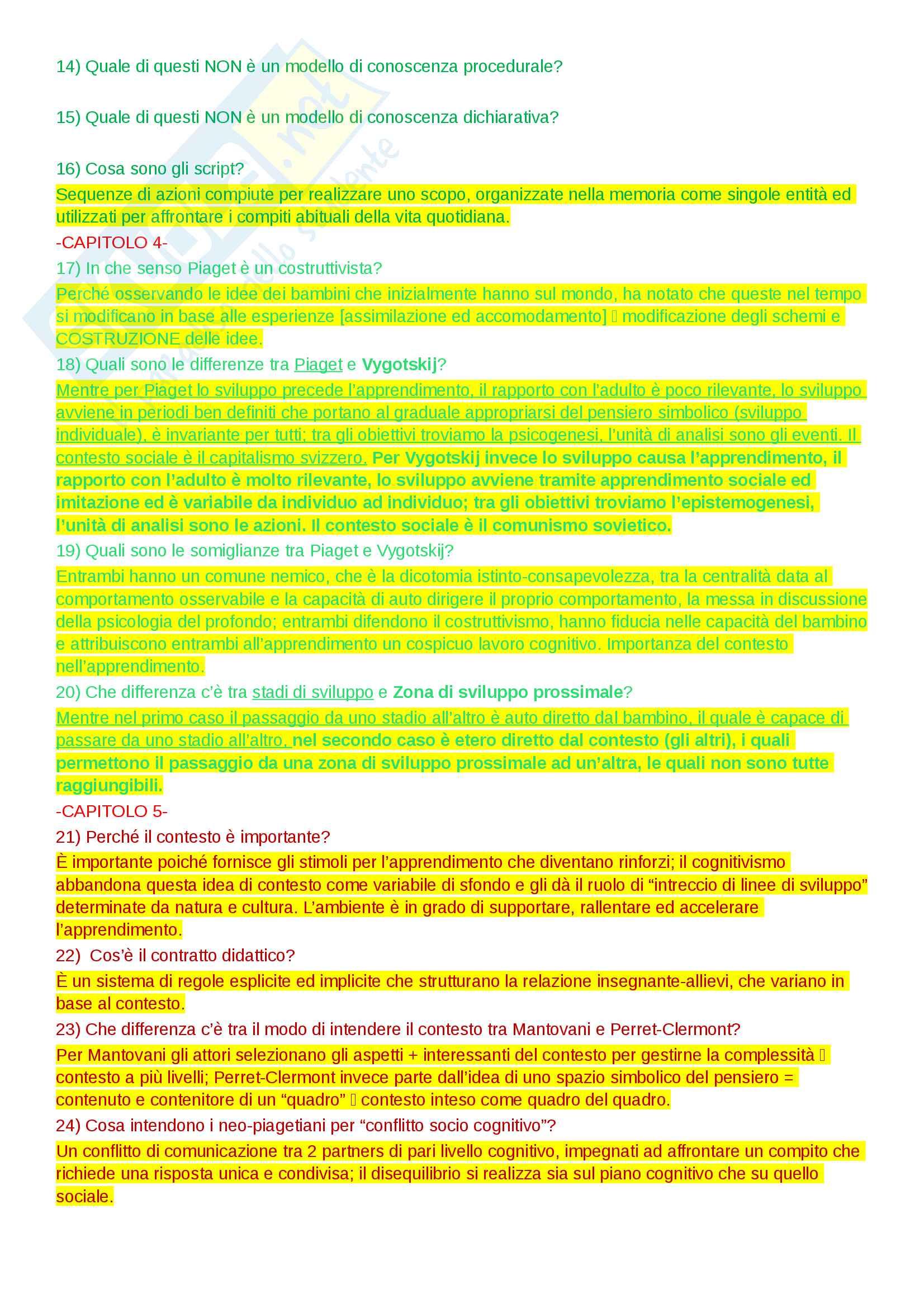 Domande e risposte per l'esonero dell'esame in psicologia dell'educazione, docente Ligorio Pag. 2
