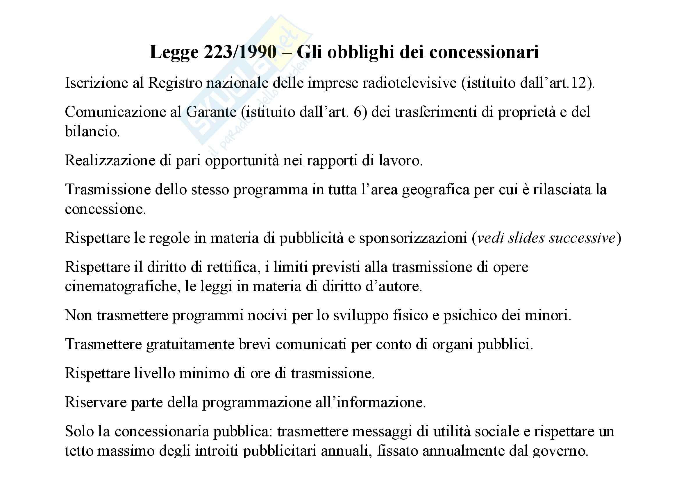 Diritto pubblico, dell'informazione e della comunicazione - il sistema radiotelevisivo Pag. 46